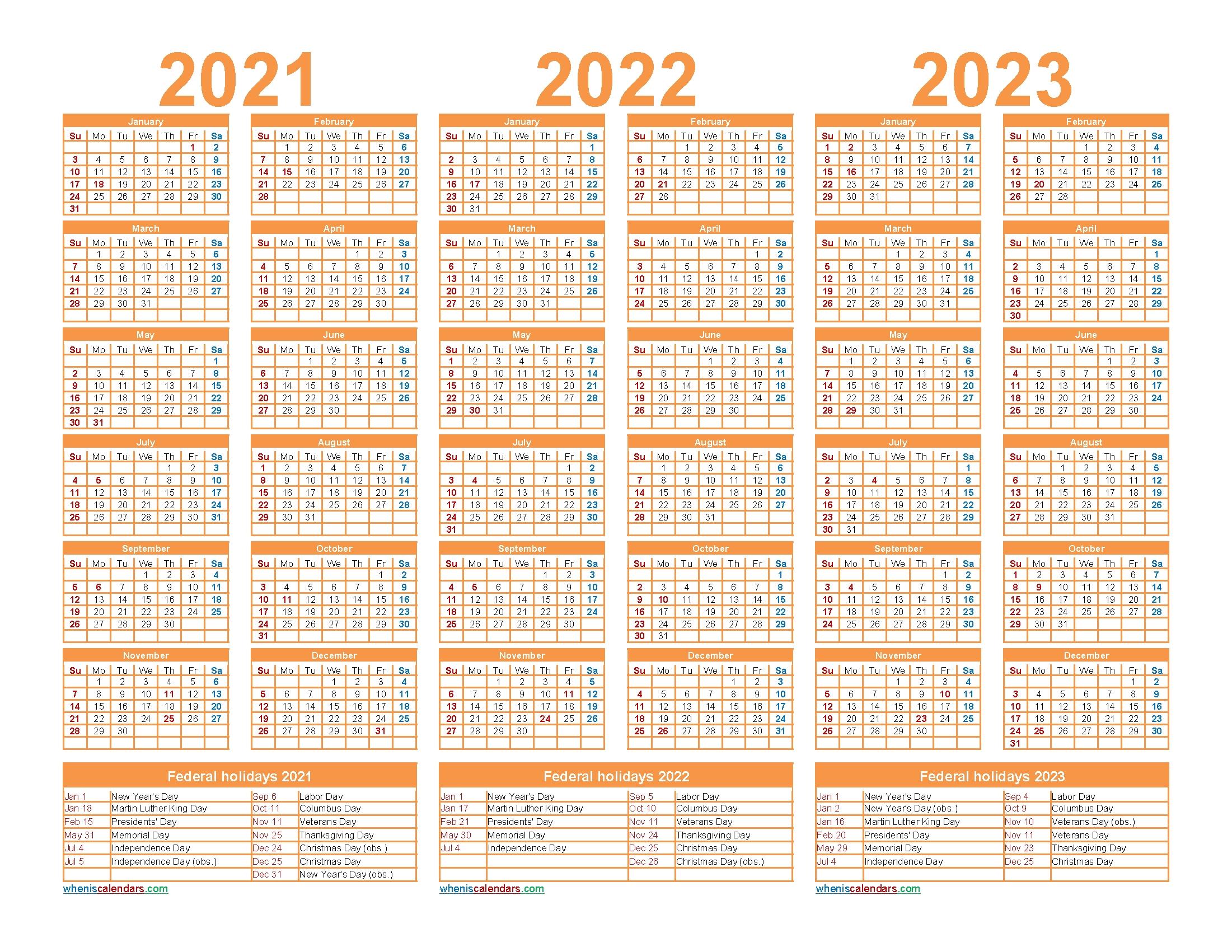 Free Printable 2021 To 2023 Calendar With Holidays – Free