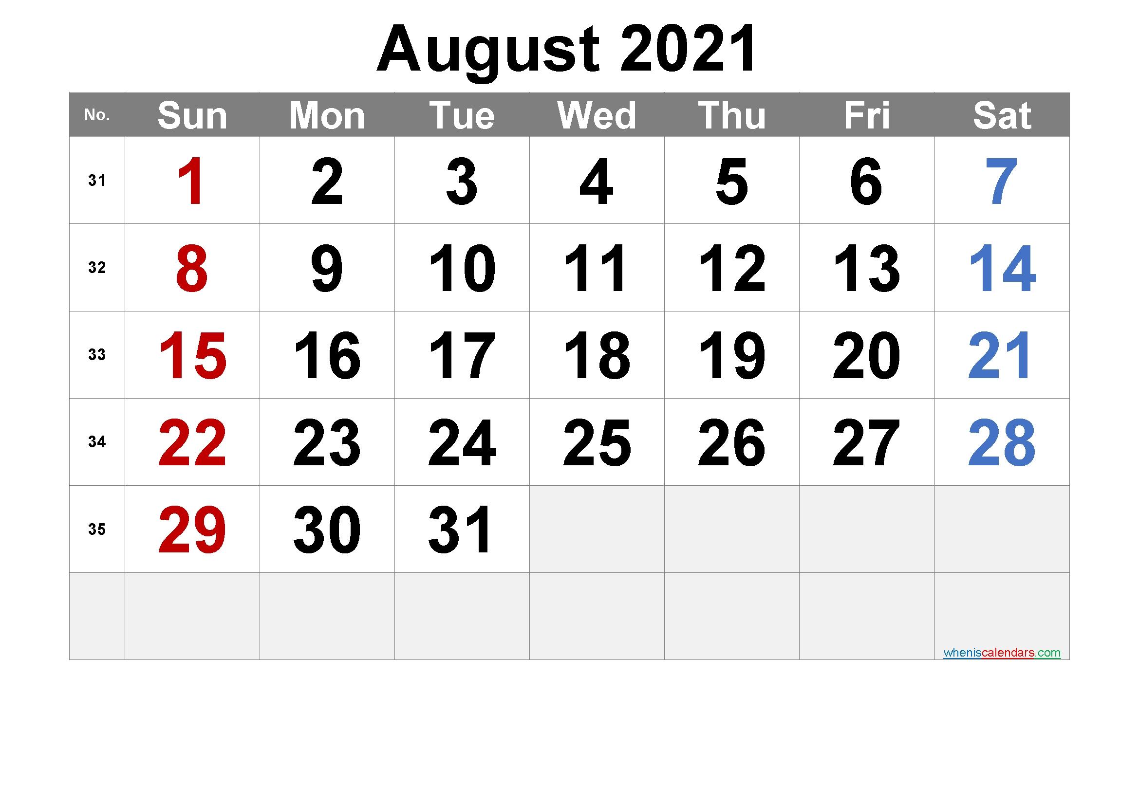 Free Printable August 2021 Calendar [Free Premium] In 2020