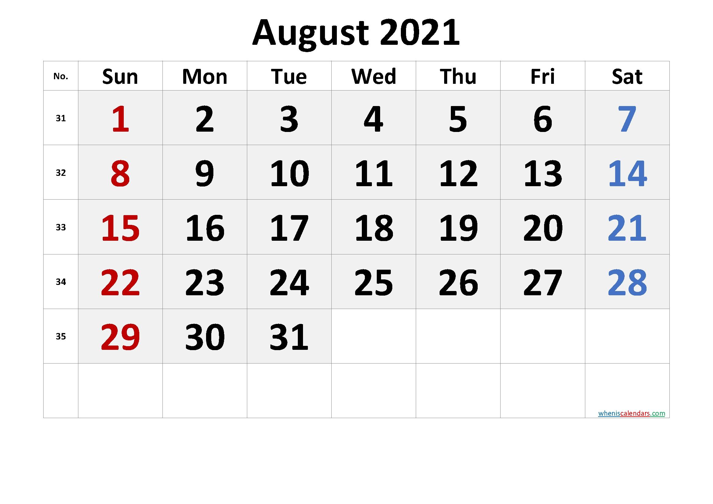 Free Printable August 2021 Calendar In 2020 | Calendar