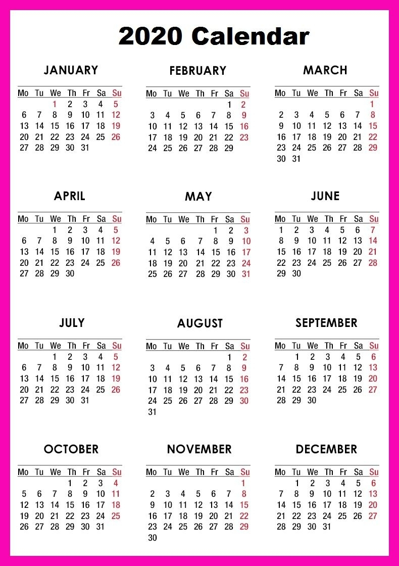 Free Printable Calendar 2020 – Monthly Template With