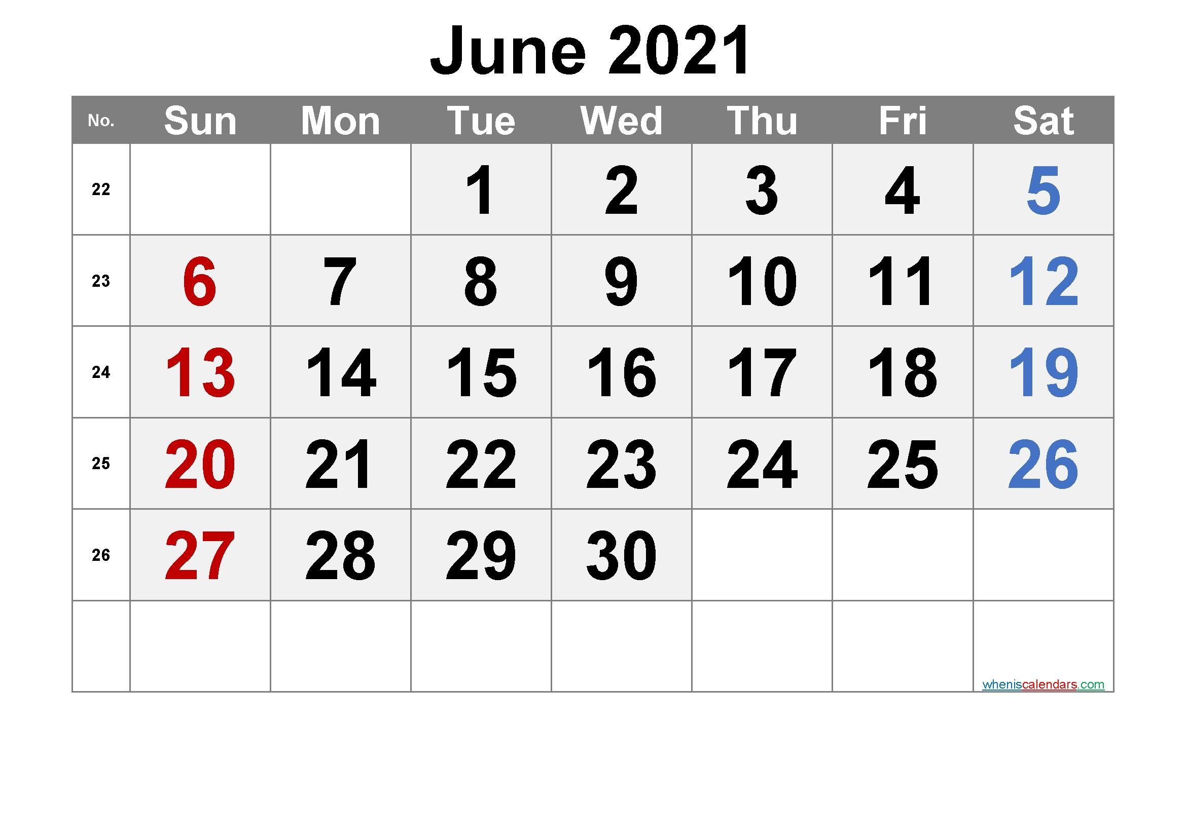 Free Printable Calendar 2021 June [Free Premium] – Free 2020