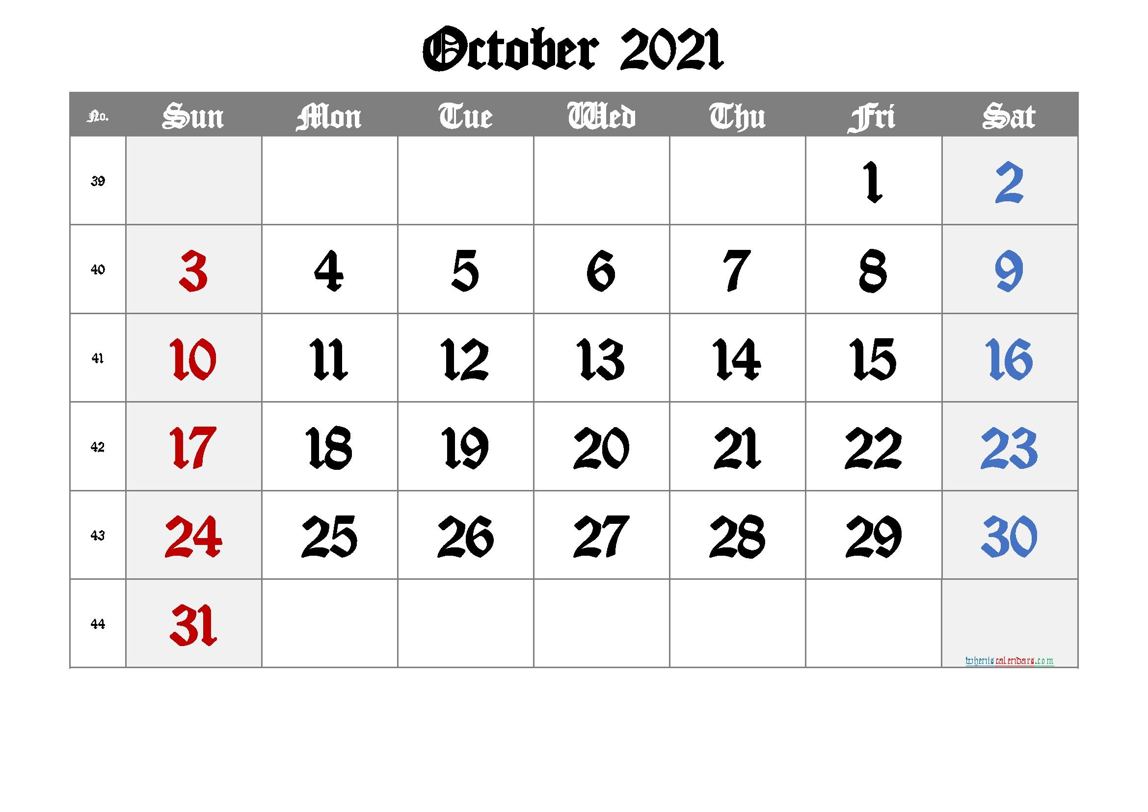 Free Printable Calendar 2021 October [Free Premium] In 2020