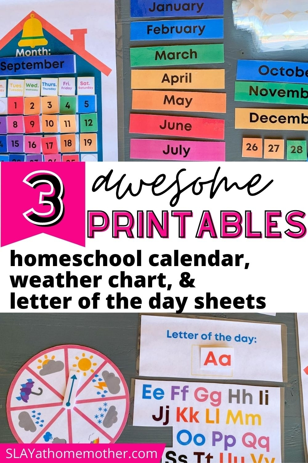 Free Printable Calendar, Weather Chart, & Letter Of The Day