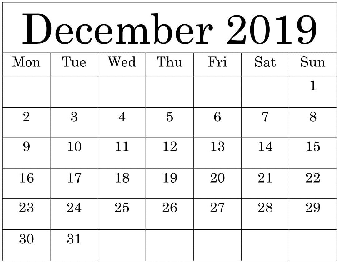 Free Printable December 2019 Calendar Worksheets Template
