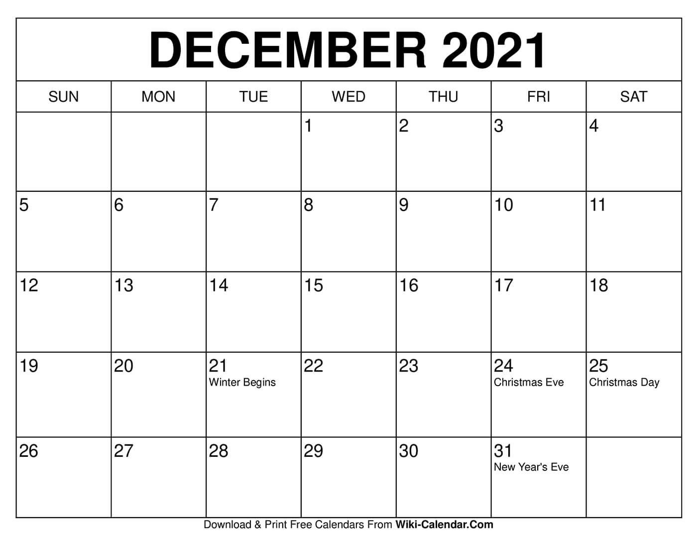 Free Printable December 2020 Calendars