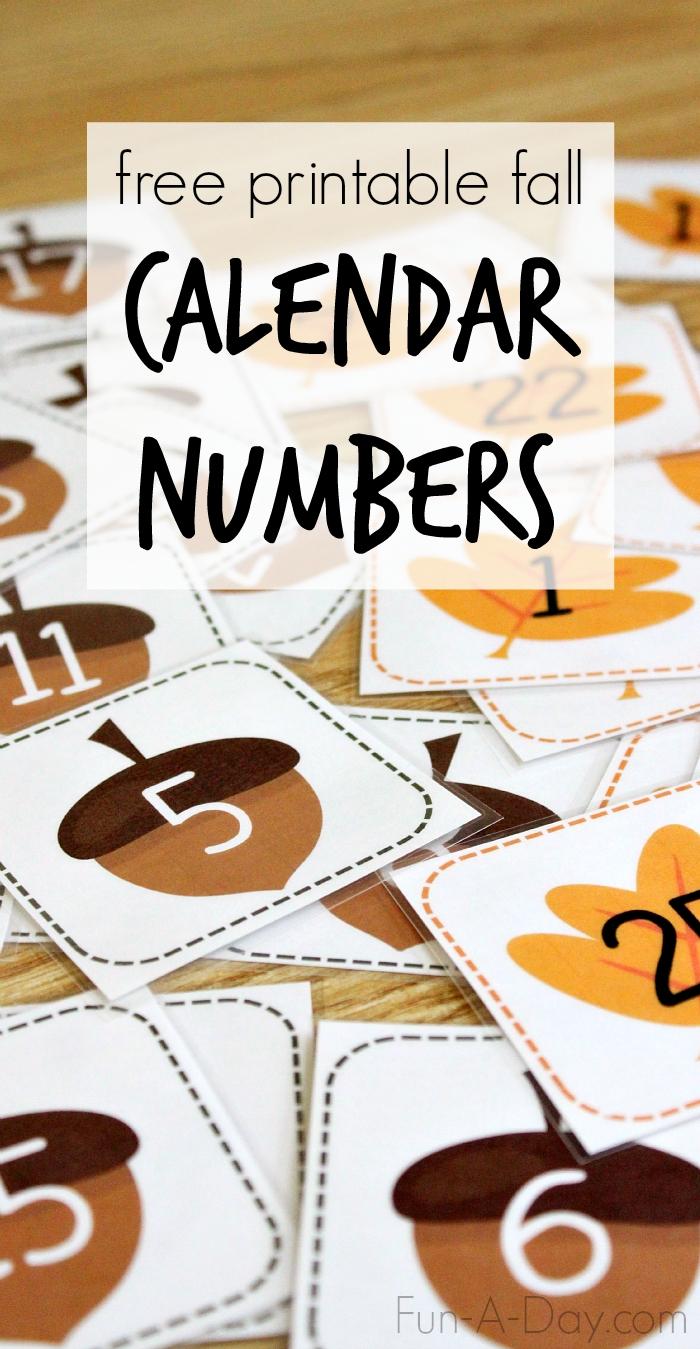Free Printable Fall Calendar Numbers | Fun-A-Day