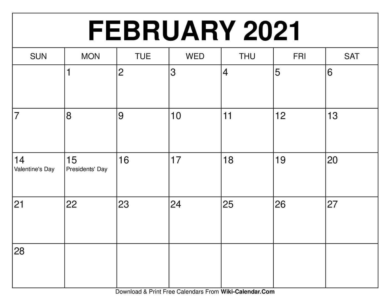 Free Printable February 2021 Calendars