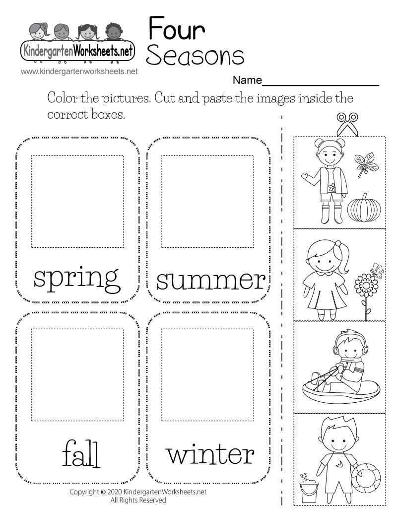 Free Printable Four Seasons Worksheet In 2020 | Seasons