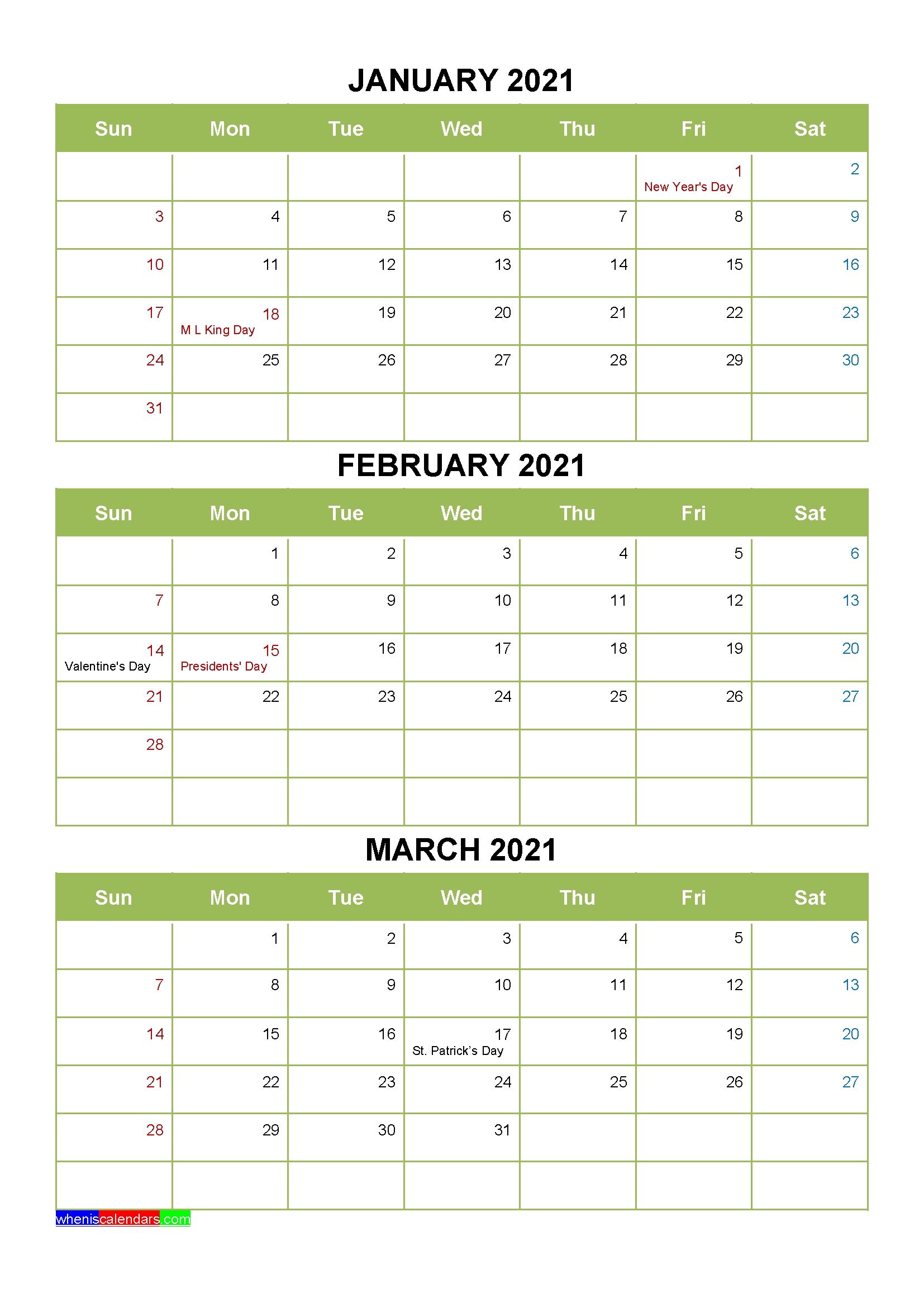 Free Printable January February March 2021 Calendar 3 Months
