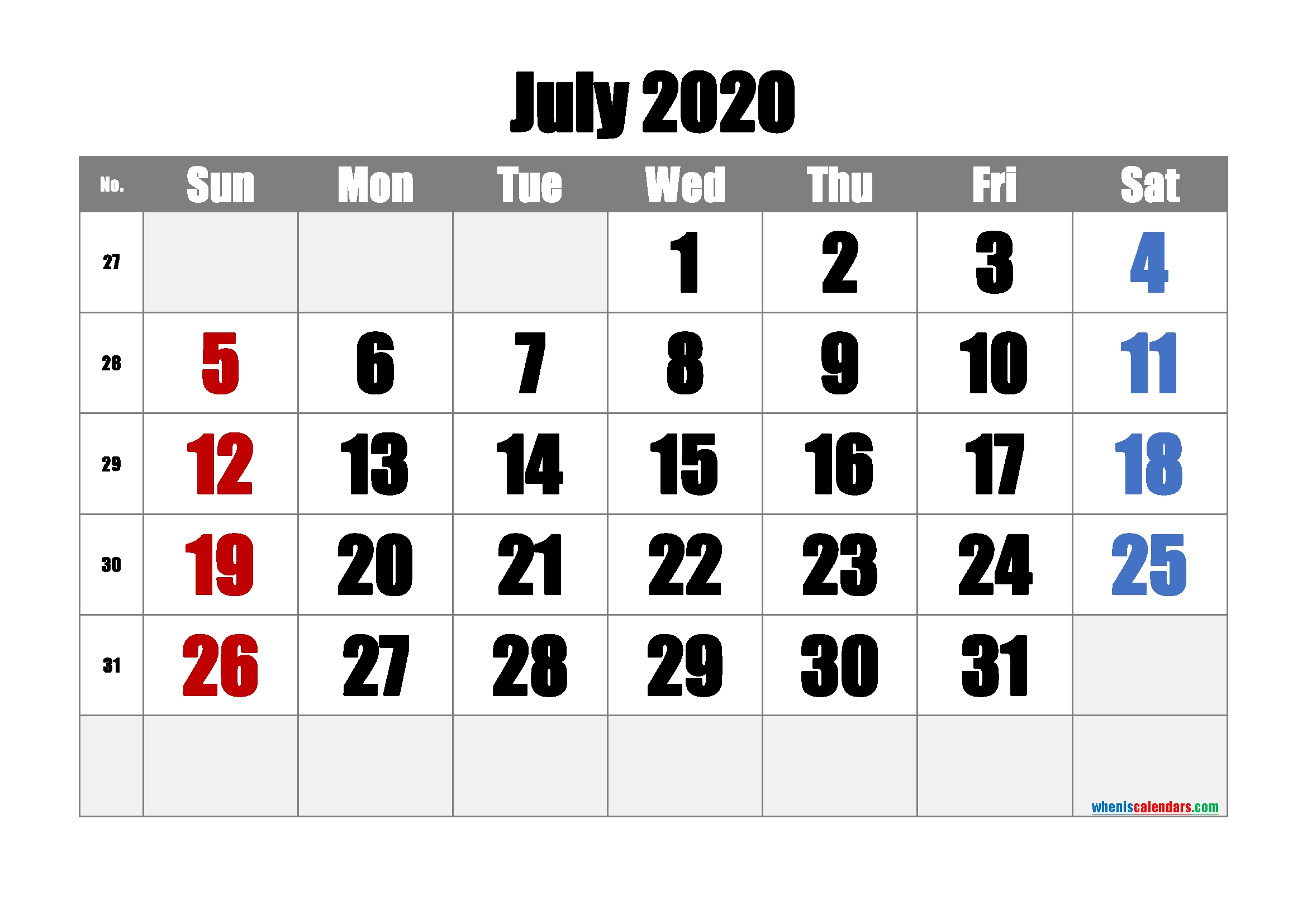 Free Printable July 2020 Calendar With Week Numbers – Free