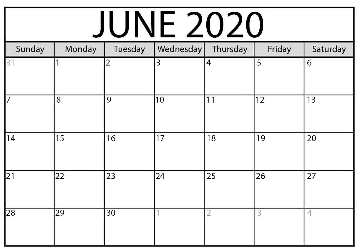 Free Printable June 2020 Calendar Templates With Notes In