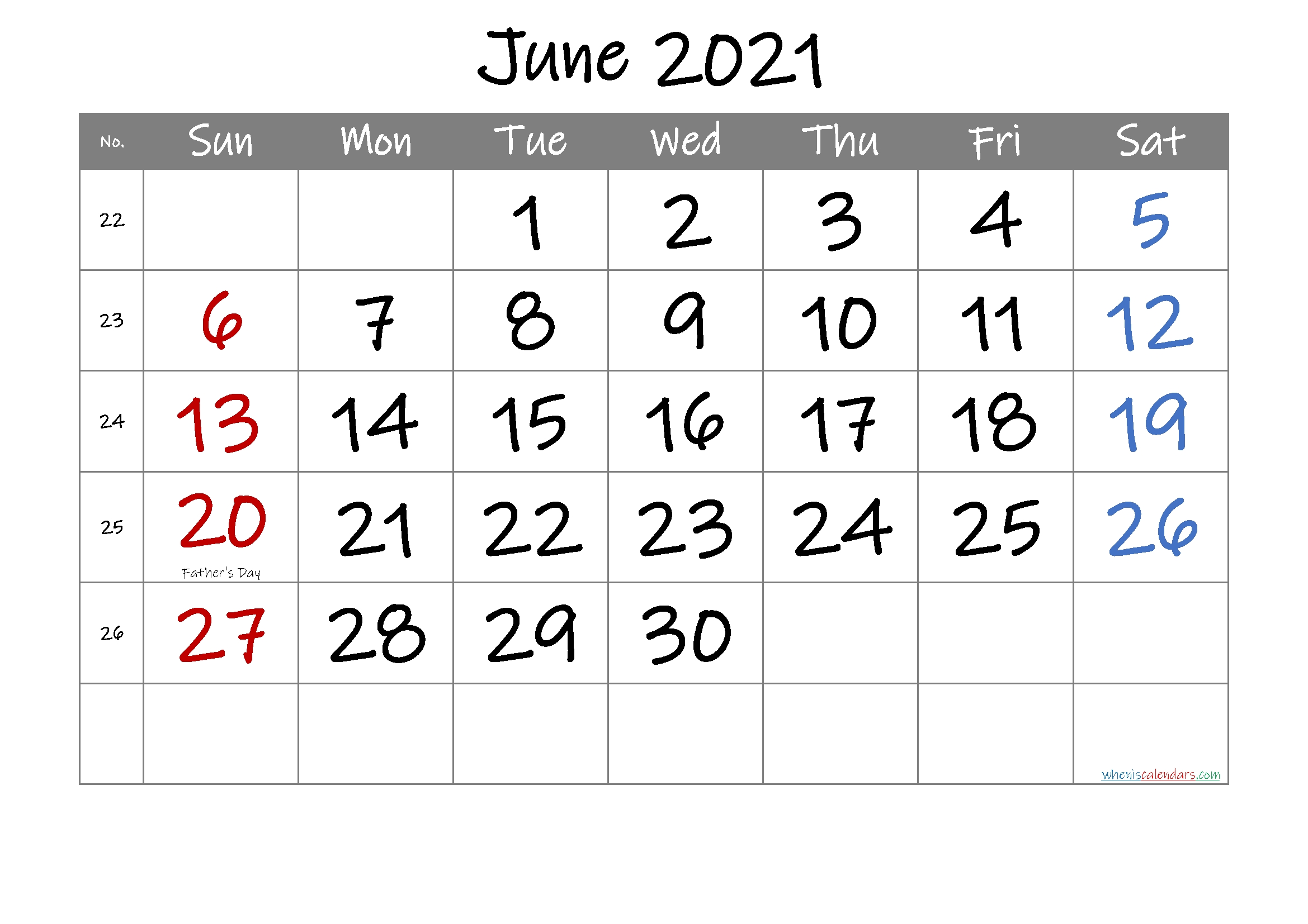 Free Printable June 2021 Calendar In 2020 | June Calendar