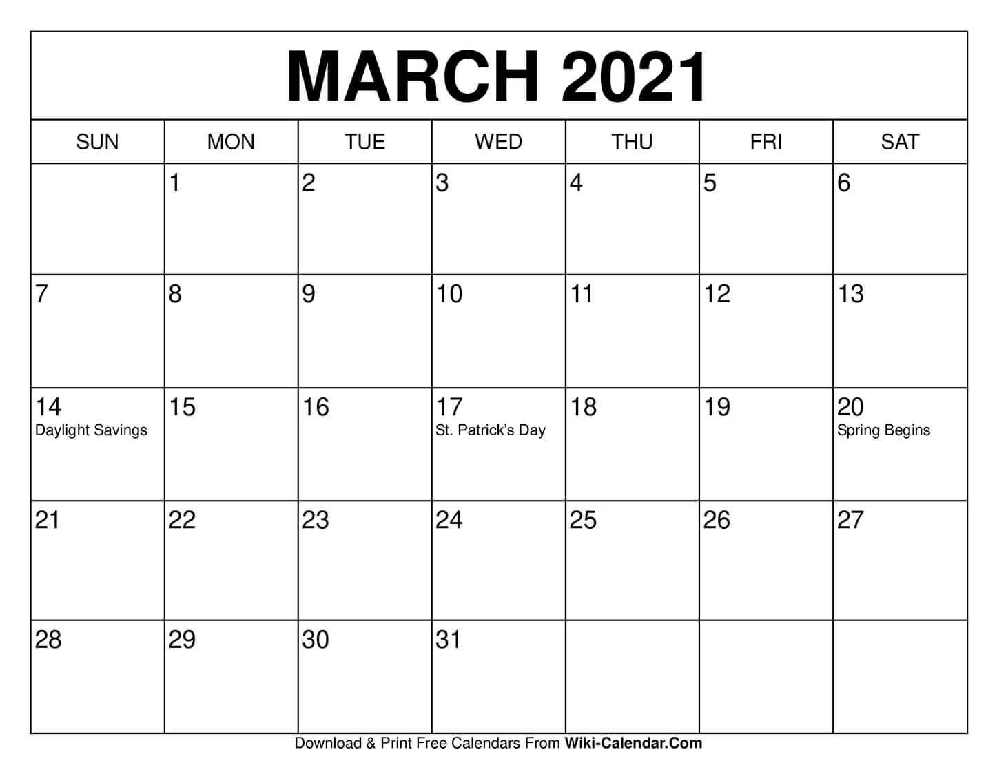 Free Print Calendars March 2021