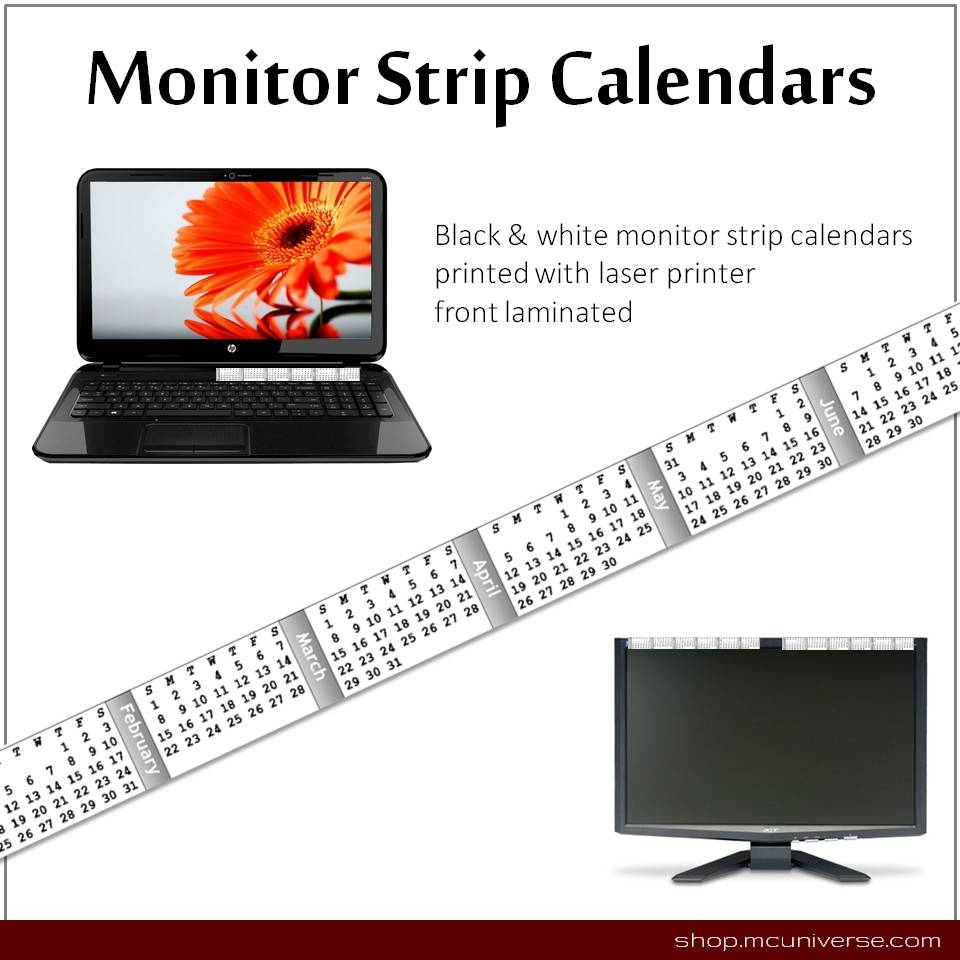 Free Printable Monitor Calendar Strips | Craftmeister