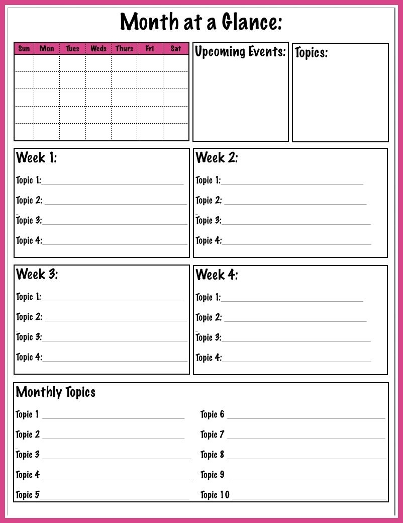 Month At Glance Printable