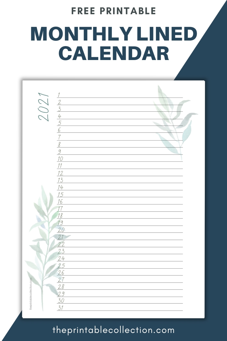 Free Printable Monthly Lined Calendar 2021 In 2020 | Monthly