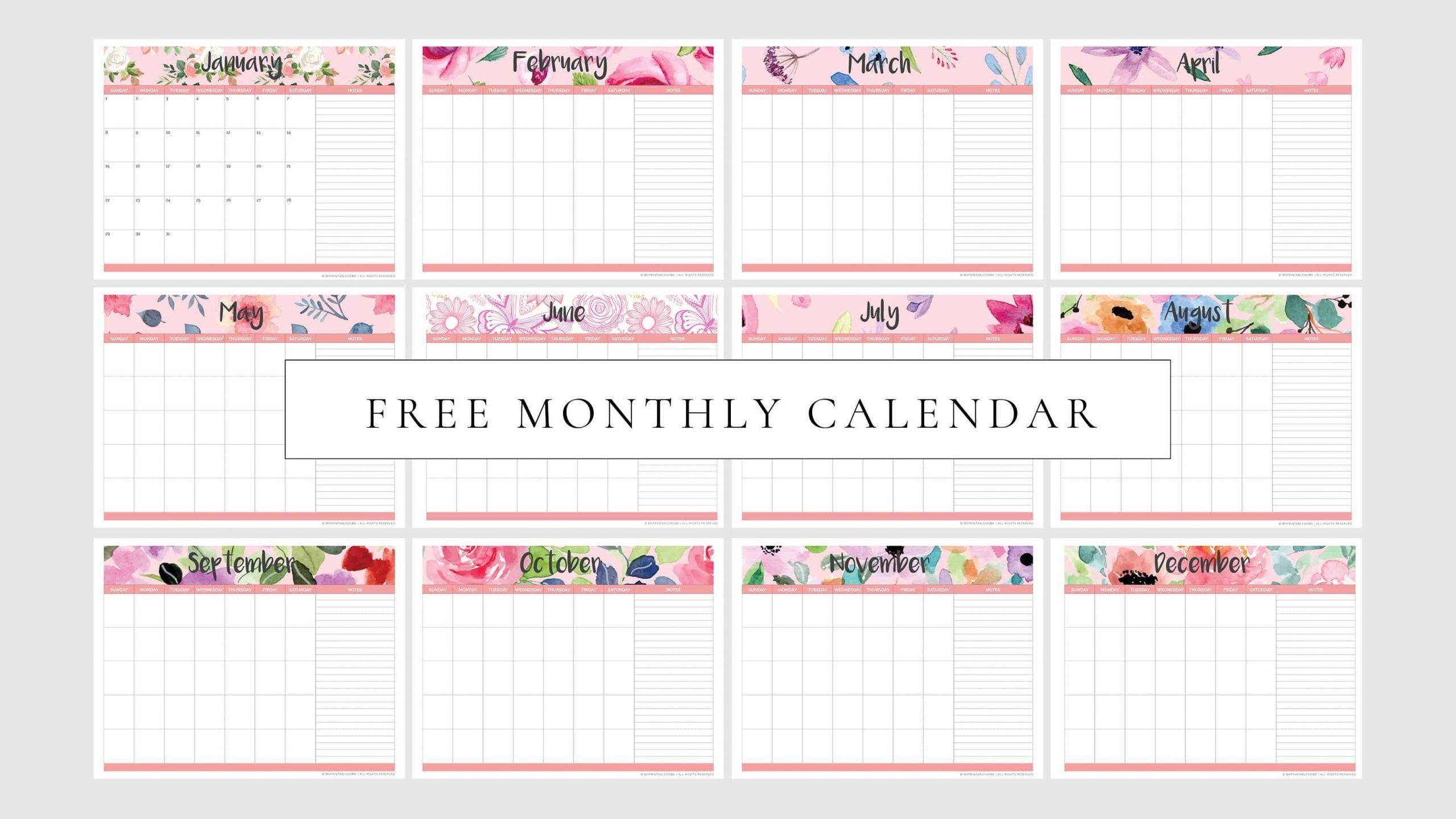 Free Printable Monthly Planner Calendar (Undated) - My