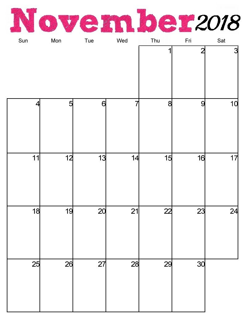 Free-Printable-November-2018-Vertical-Calendar 797×1,049