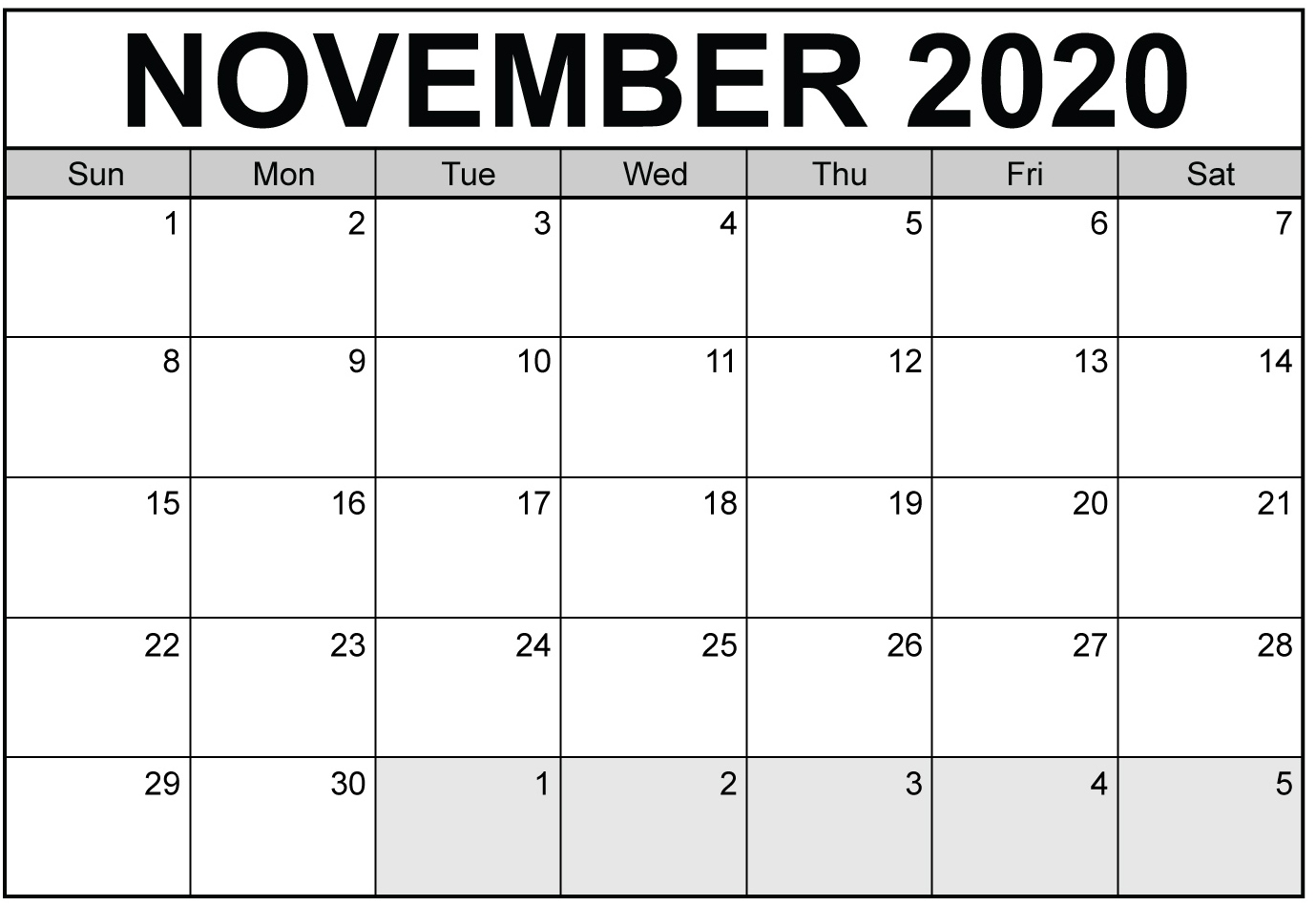 Free Printable November 2020 Calendar With Blank Notes - Set