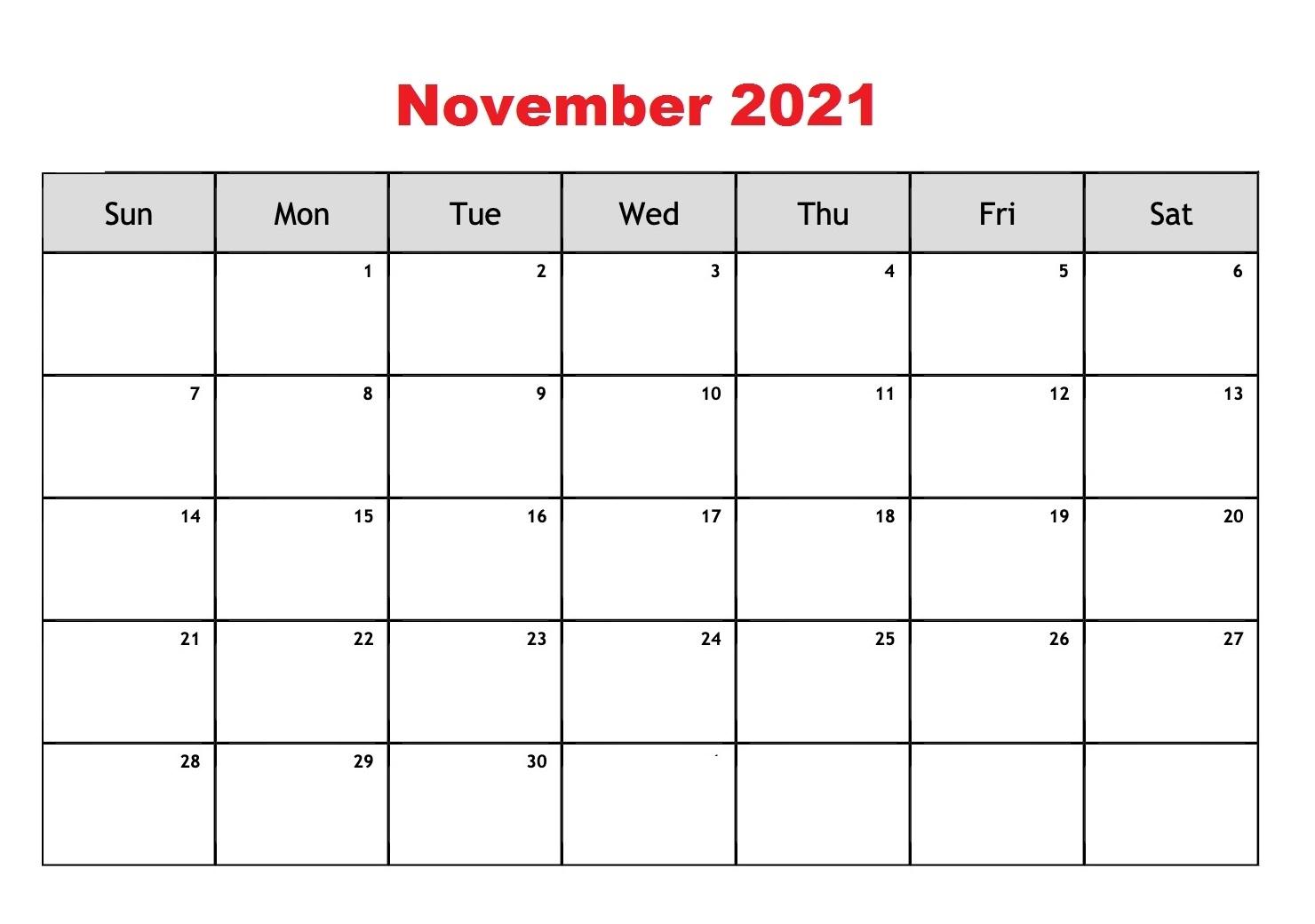 Free Printable November 2021 Calendar Blank Template In Pdf