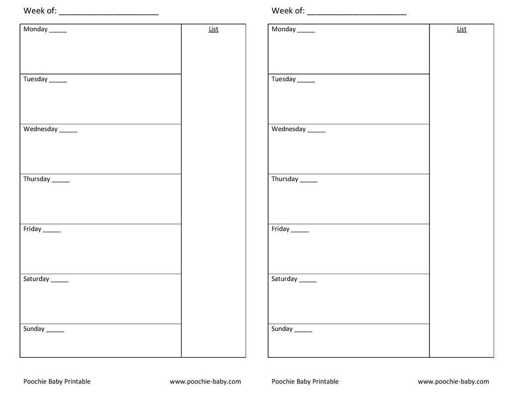 Free Printable Planner Page: A5 Week On One Page Undated