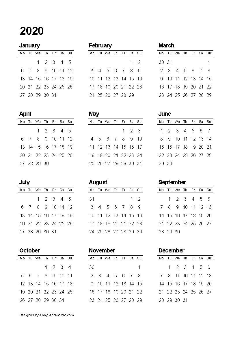 Free Printable Pocket Calendar 2020 In 2020 | Calendar