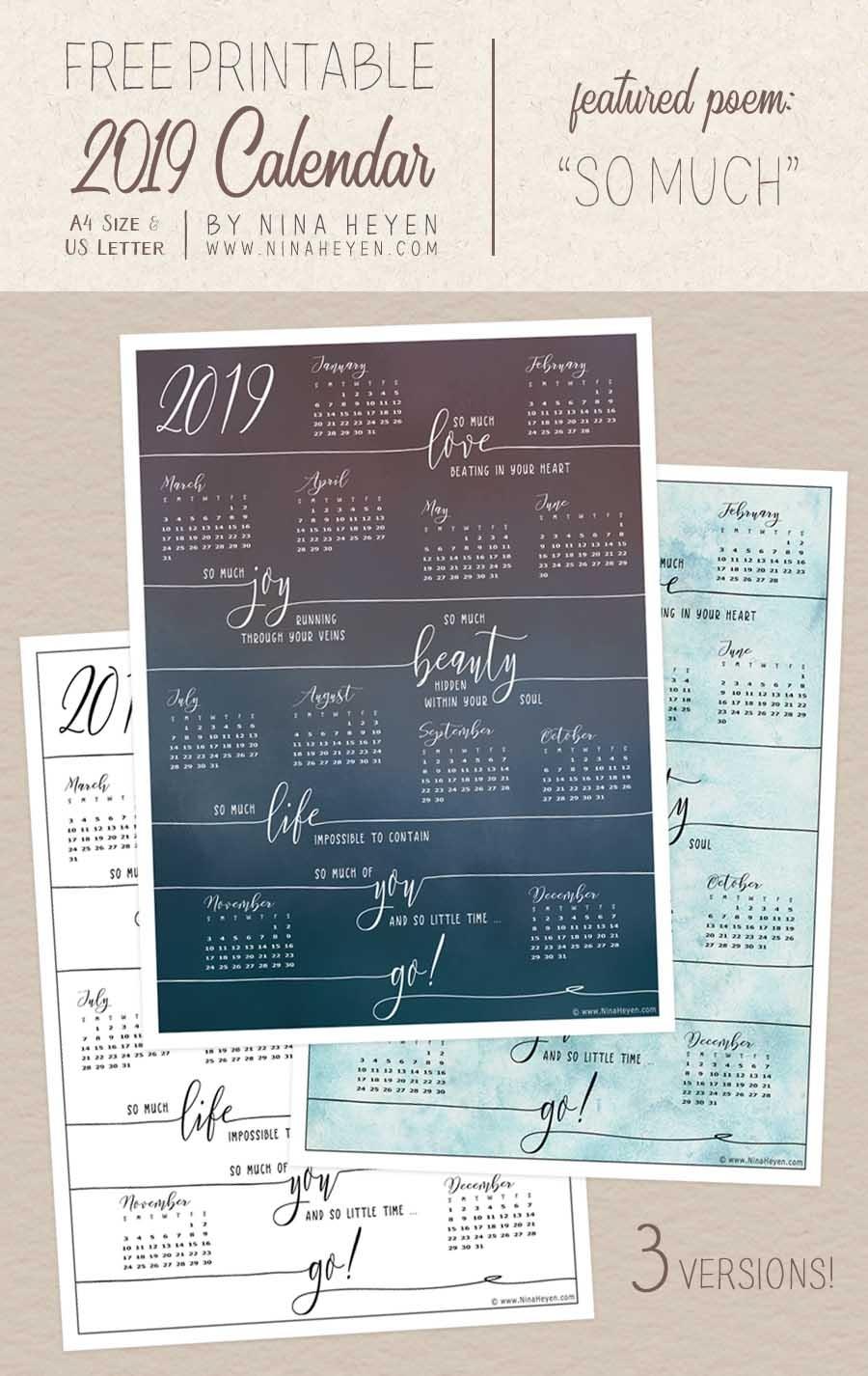 Free Printable Poetry Calendar 2019 | Nina Heyen
