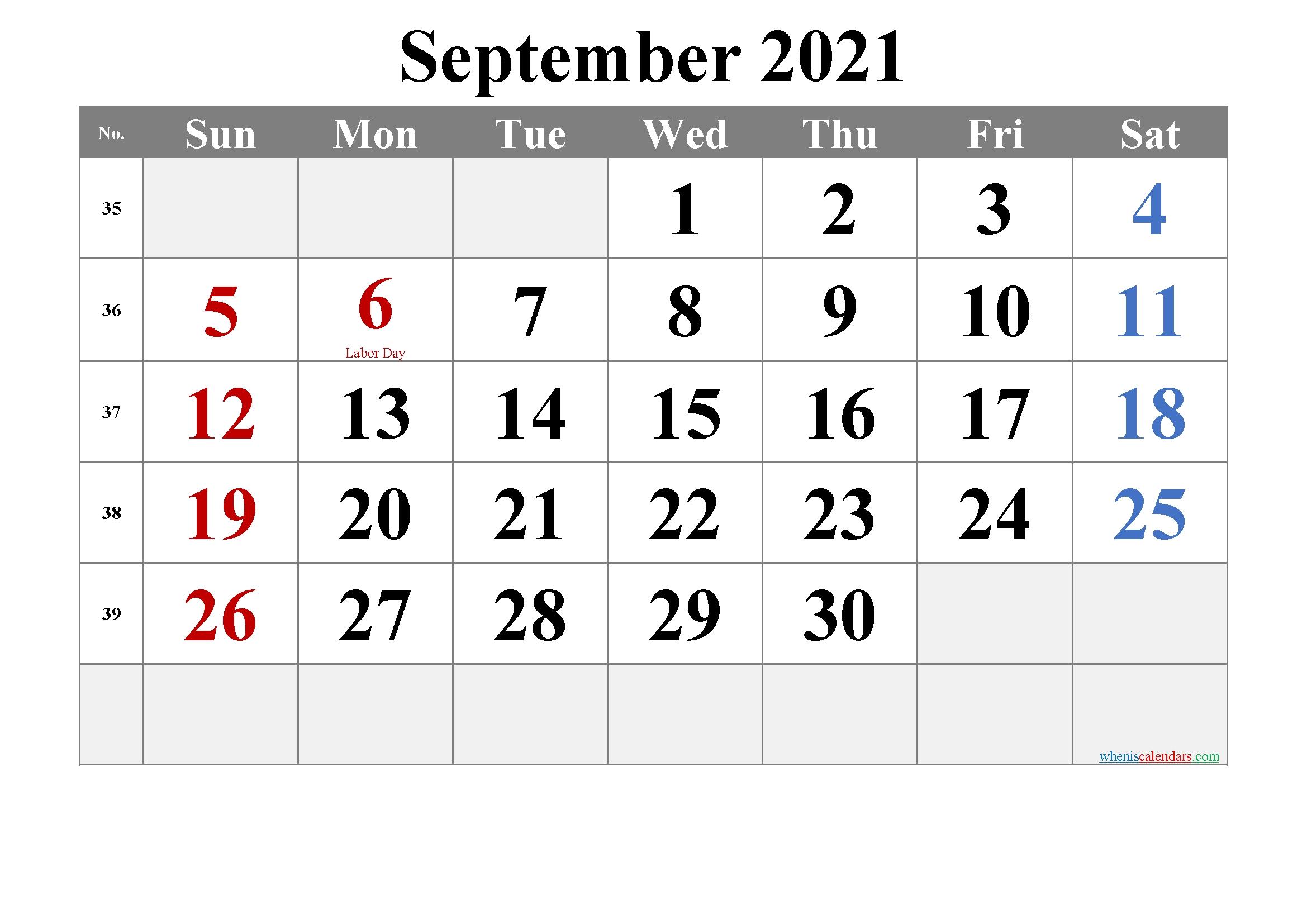 Free Printable September 2021 Calendar In 2020 | Calendar