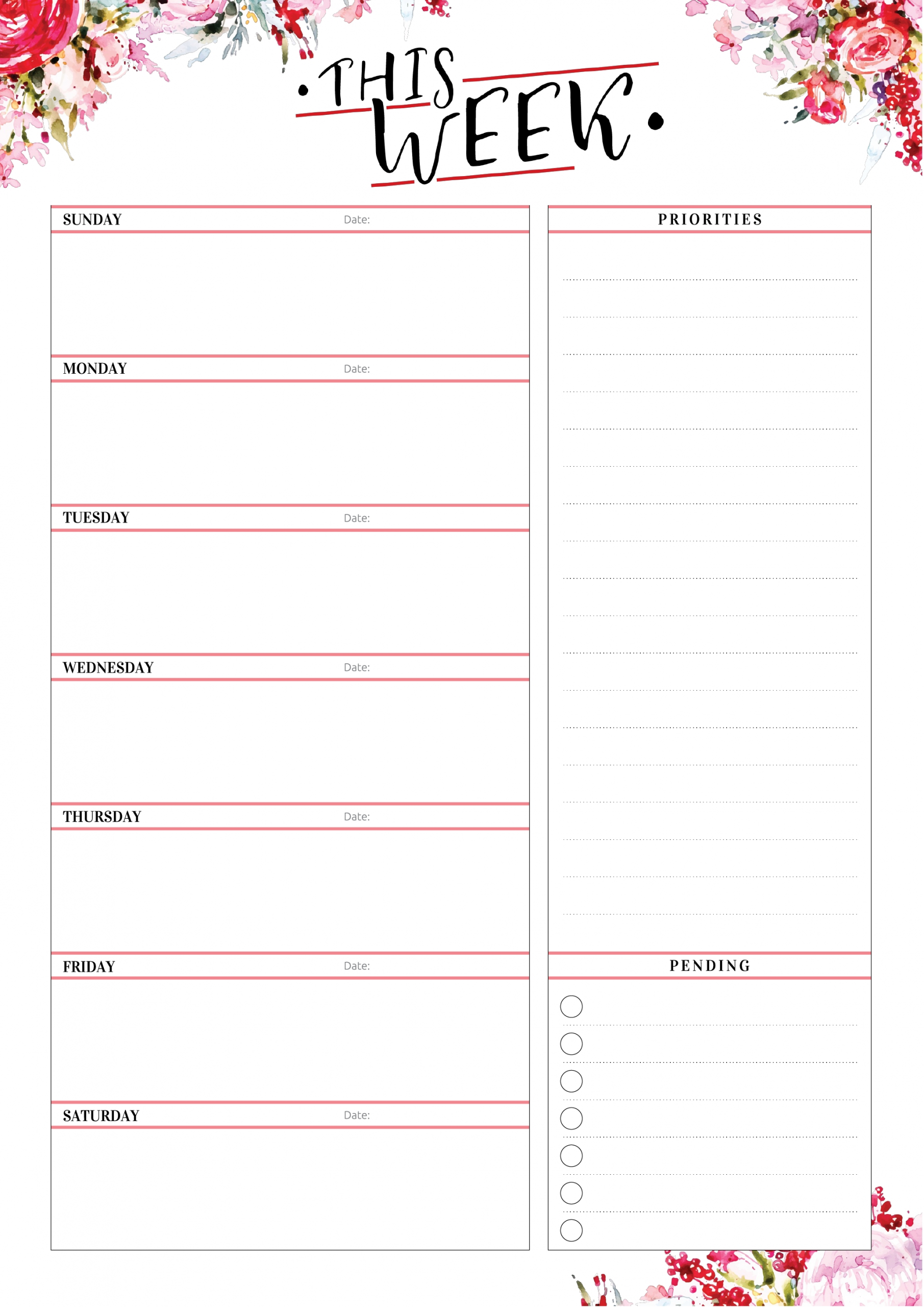 Printable Weekly Calendar Undated 5X7