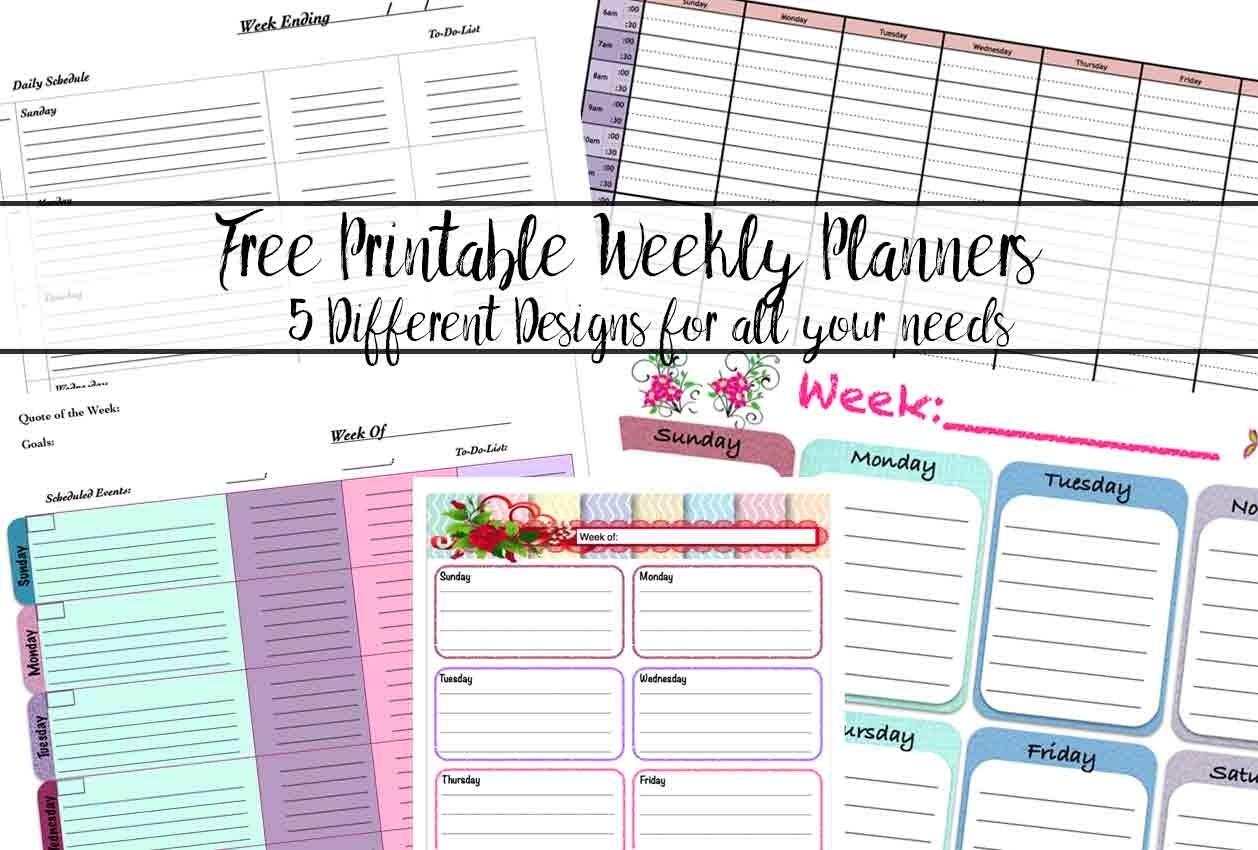 Free Printable Weekly Planners: 5 Designs