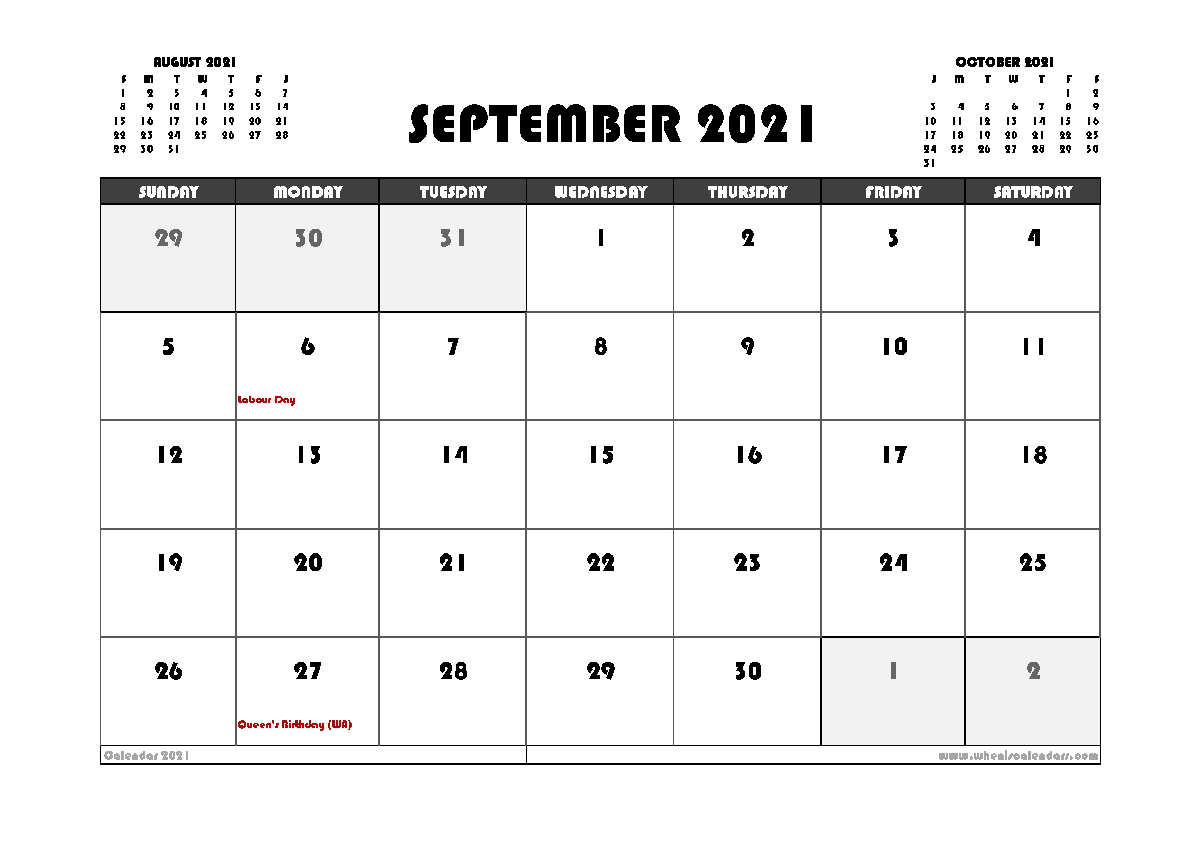 Free September 2021 Calendar Canada Printable 12 Templates