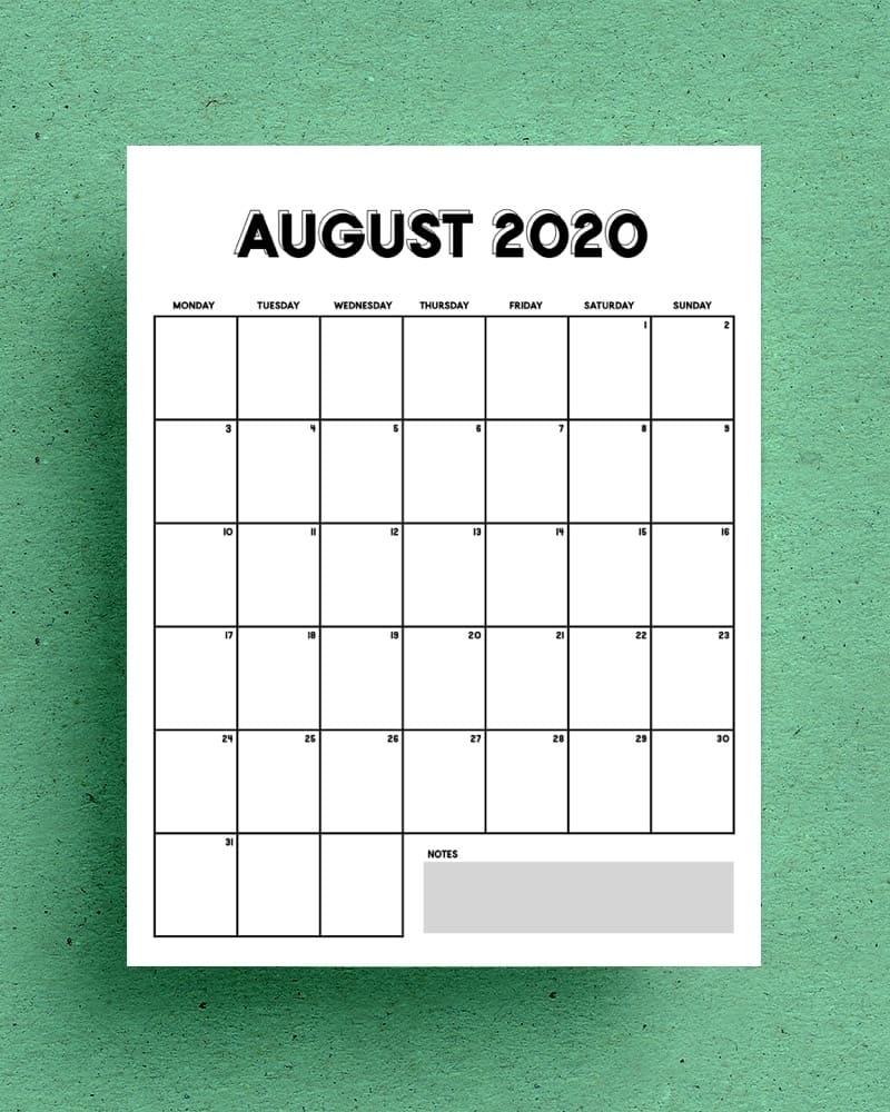 Free Vertical Calendar Printable For 2020 - Crazy Laura