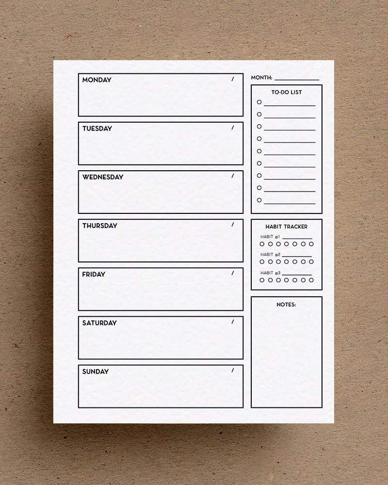 Free Weekly Planner Printable With Different Colors - Crazy