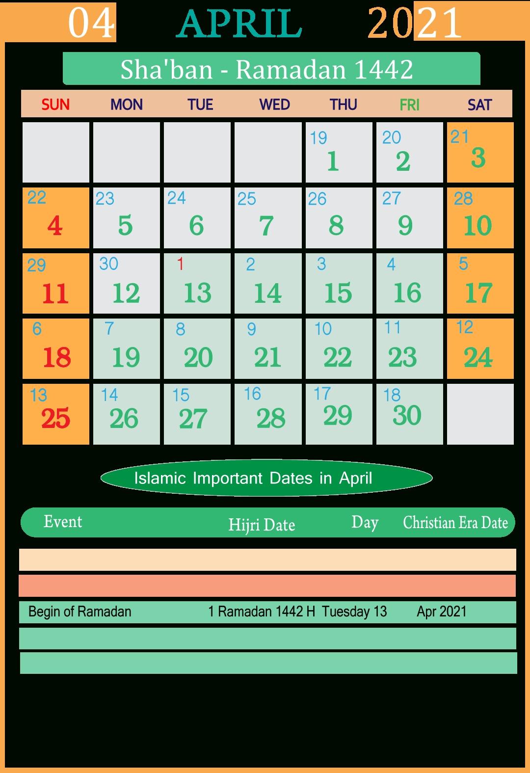 Gail Alam: Calendar For 2021 With Holidays And Ramadan