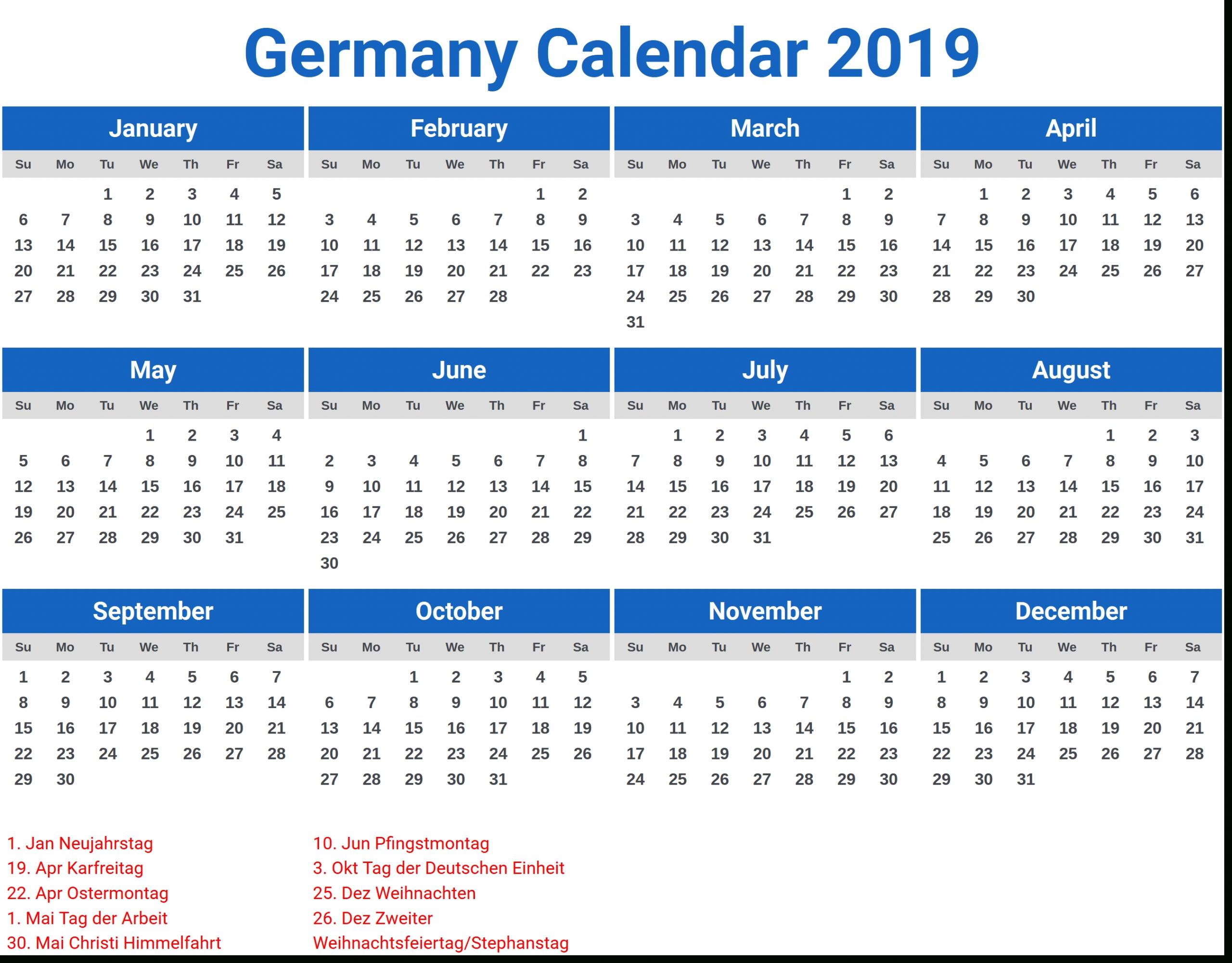 Germany 2019 Calendar With Holidays | Calendar Template
