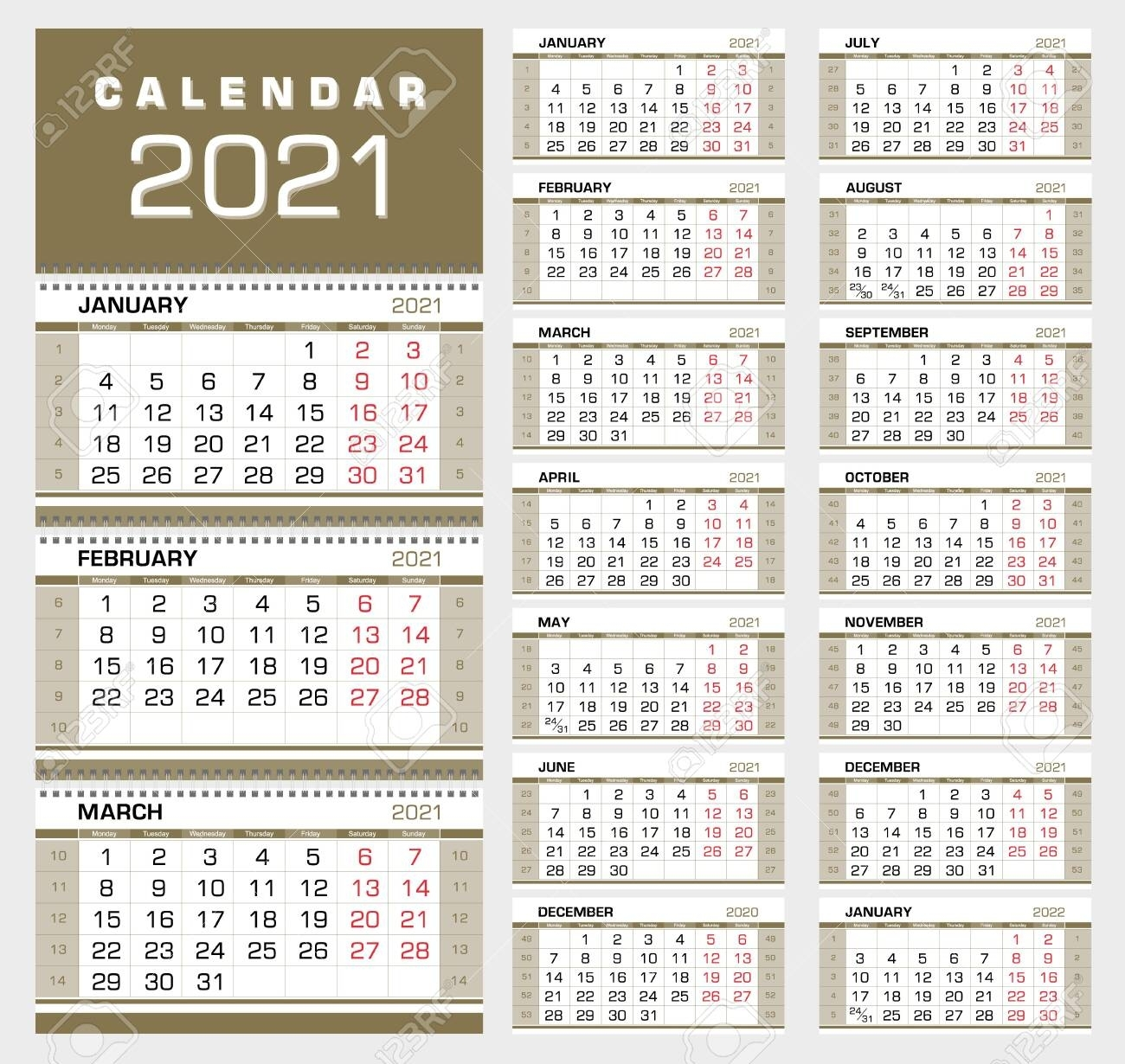Gold Wall Quarterly Calendar 2021 With Week Numbers. Week Start..