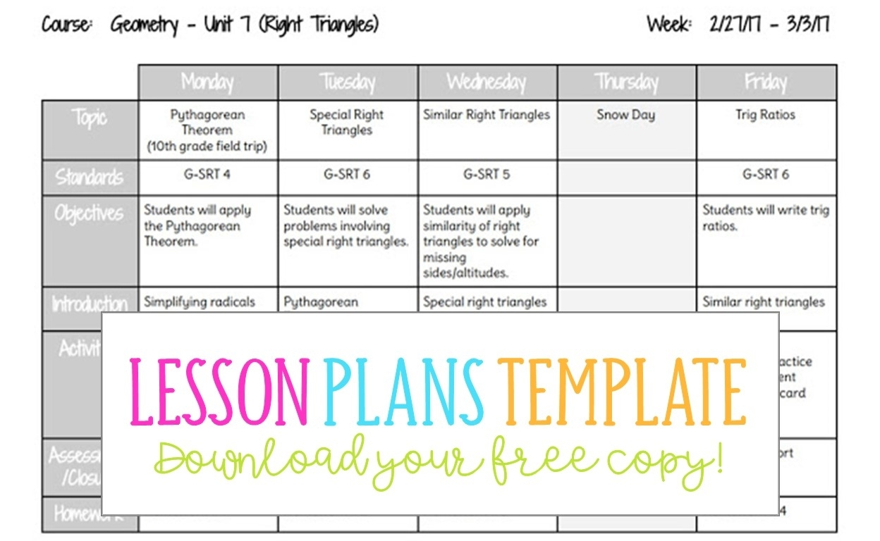Google Docs Lesson Plans Template - Busy Miss Beebe