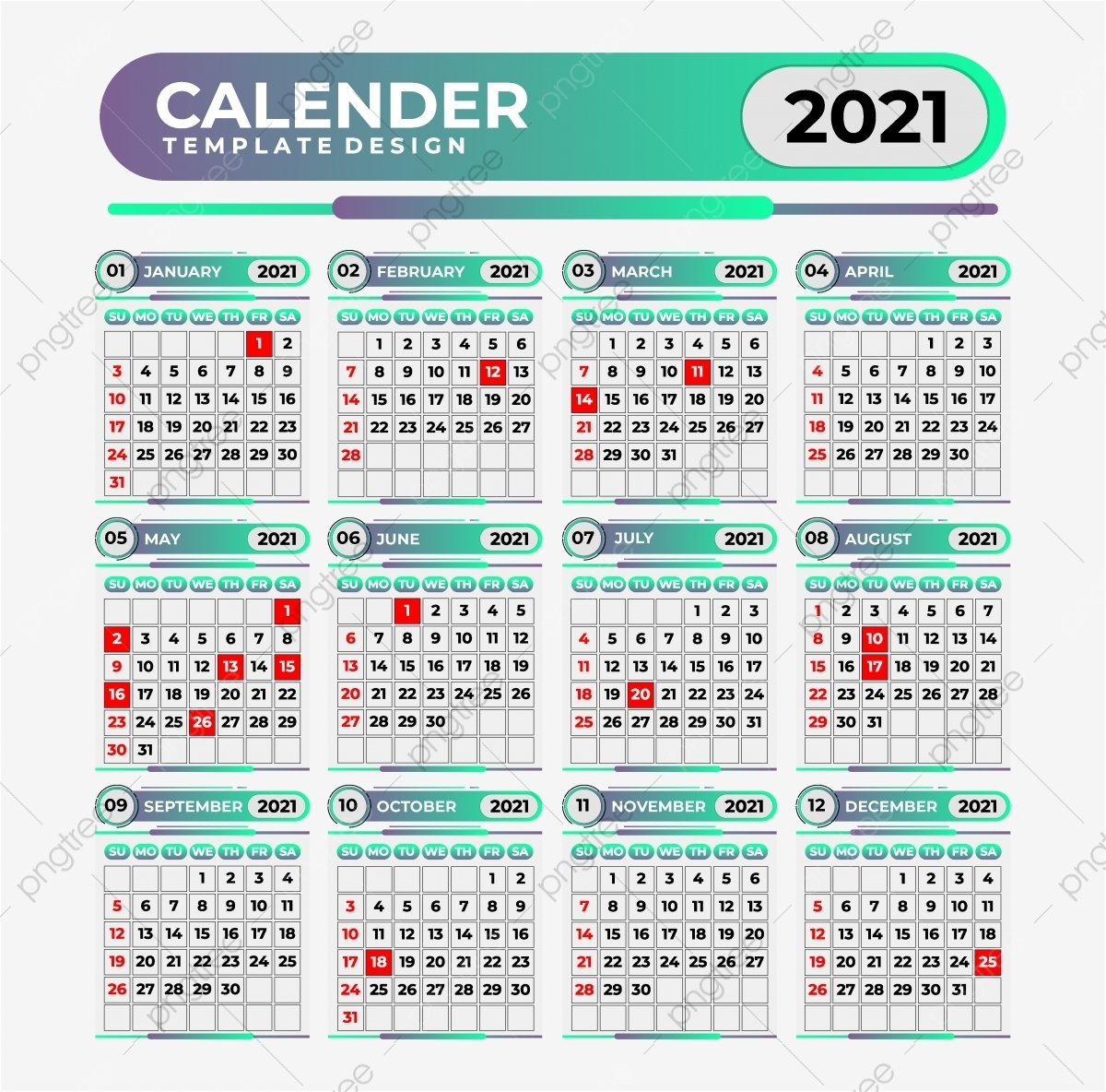 Gradient Calendar 2021 Template Template Download On Pngtree