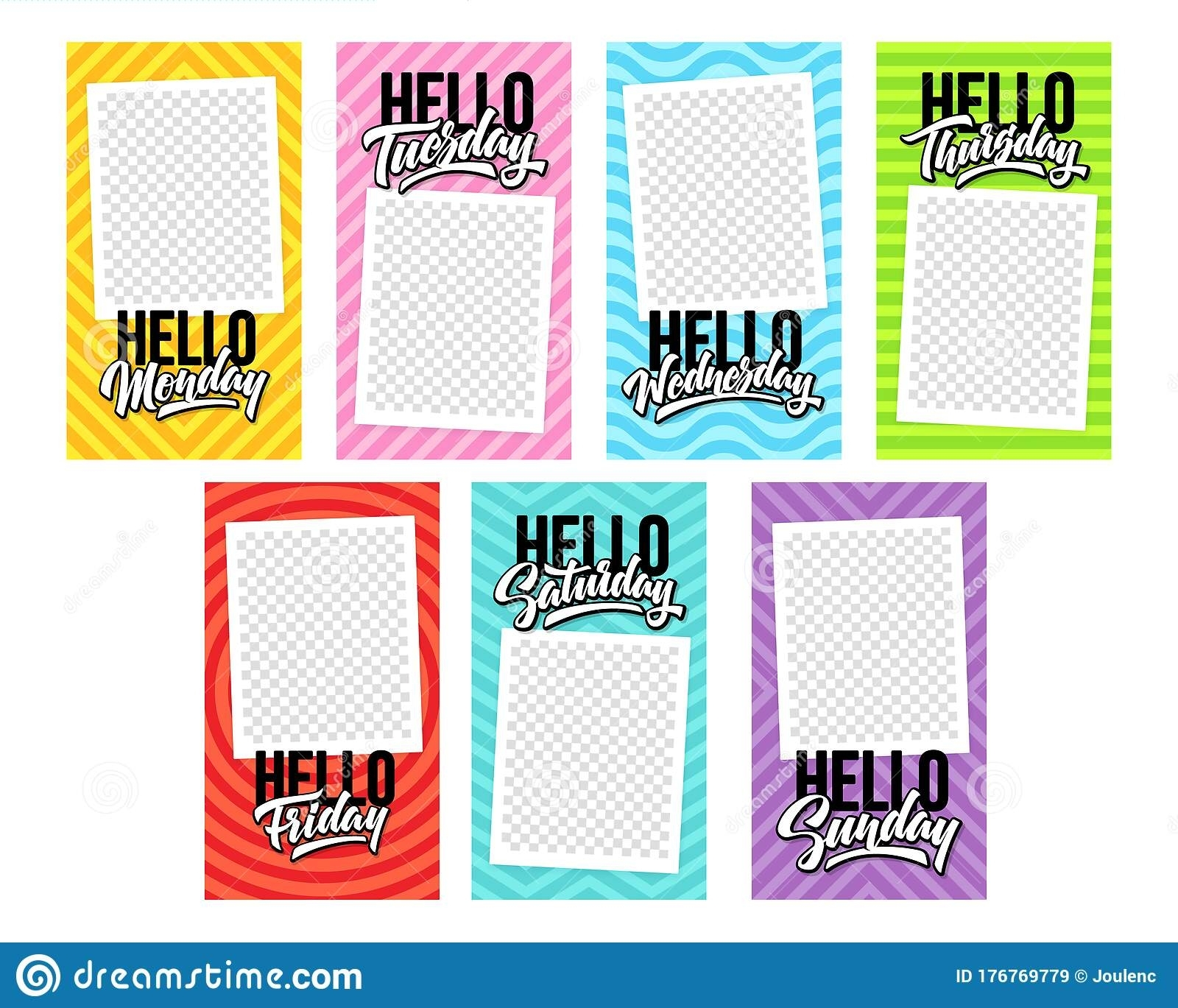 Hello 7 Days Of The Week With Photo Template For Stories
