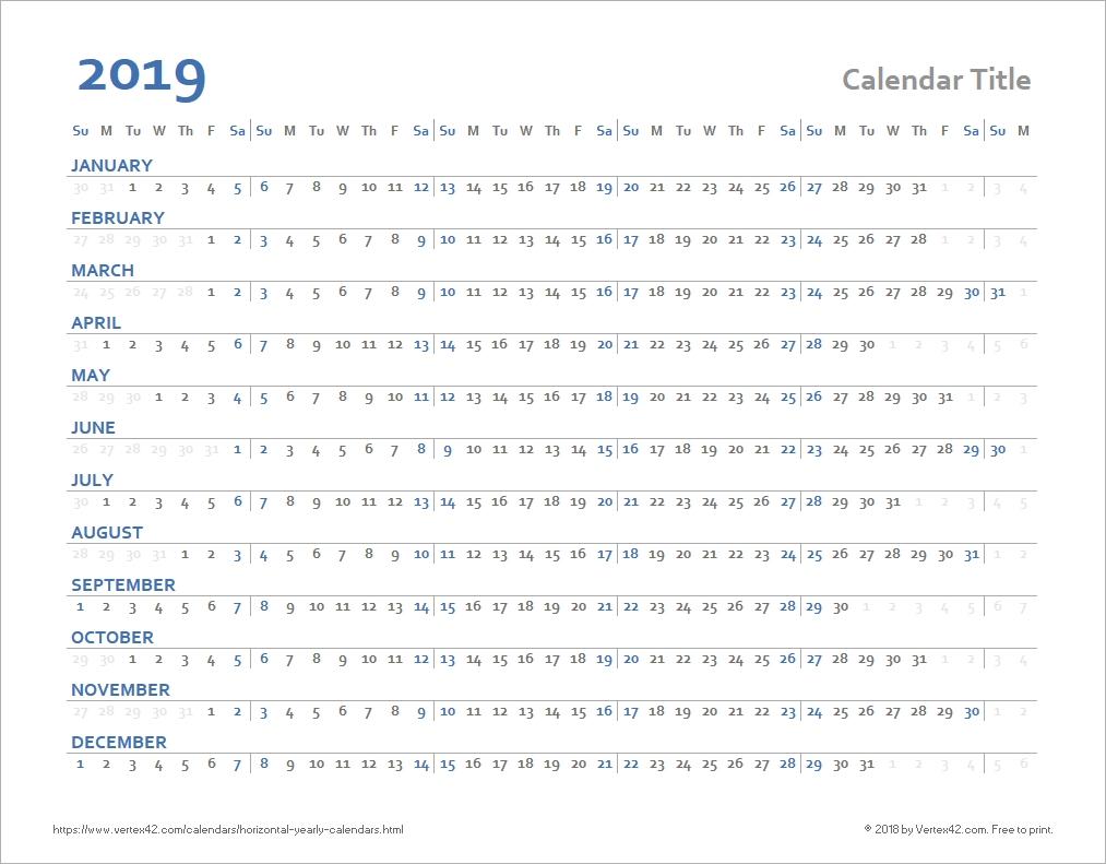 Horizontal Yearly Calendar Templates