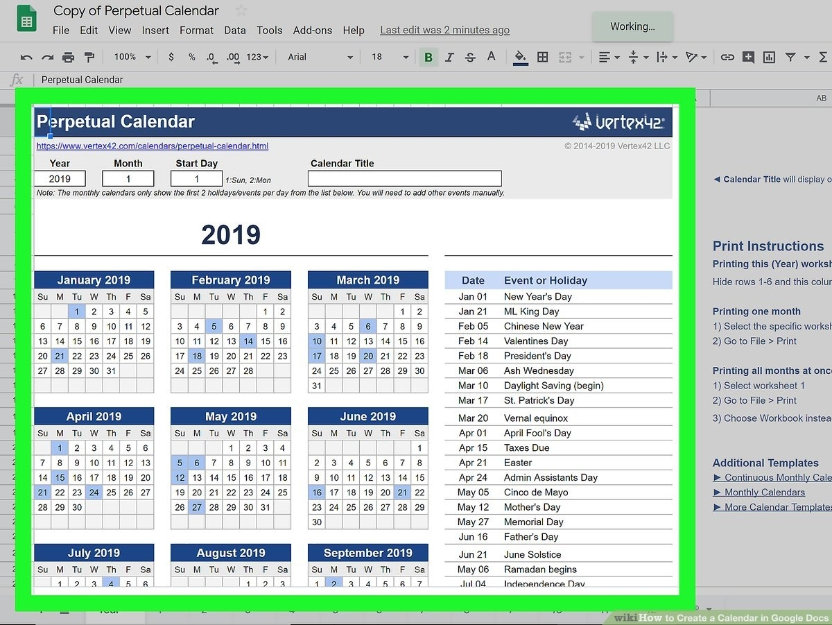 How To Create A Calendar In Google Docs (With Pictures