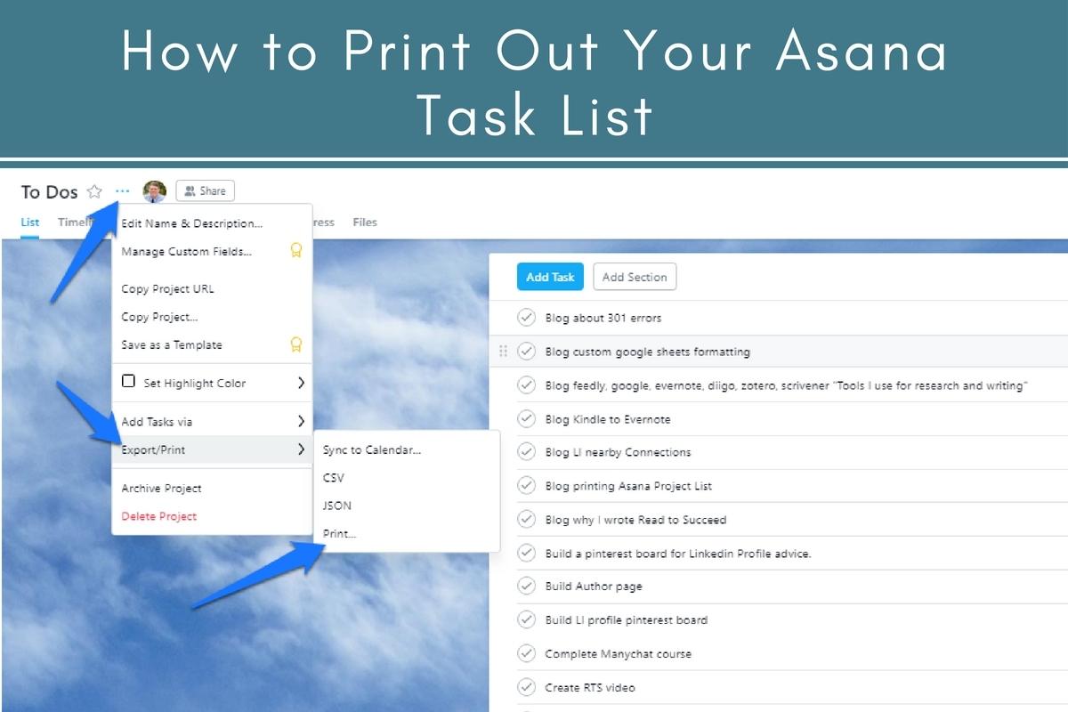 How To Print Out An Asana Task List | Tubarks - The Musings
