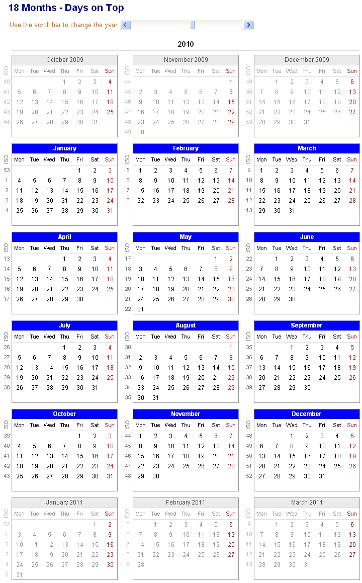 Image Of Adjustable And Printable Excel Calendar - 18-Month