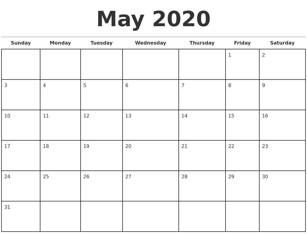 Incredible 2020 Monthly Calendar With Holidays In 2020