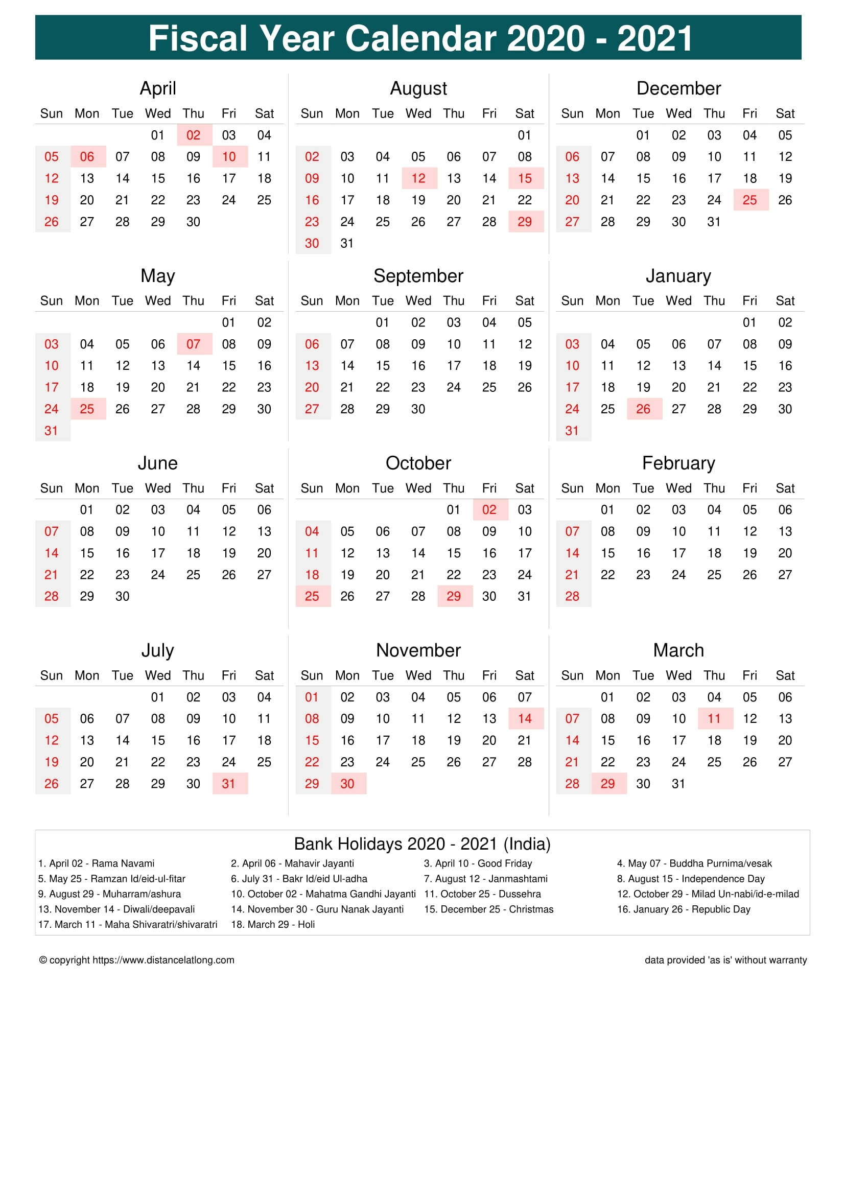 India Fiscal Year 2020-2021 Calendar Templates, Free
