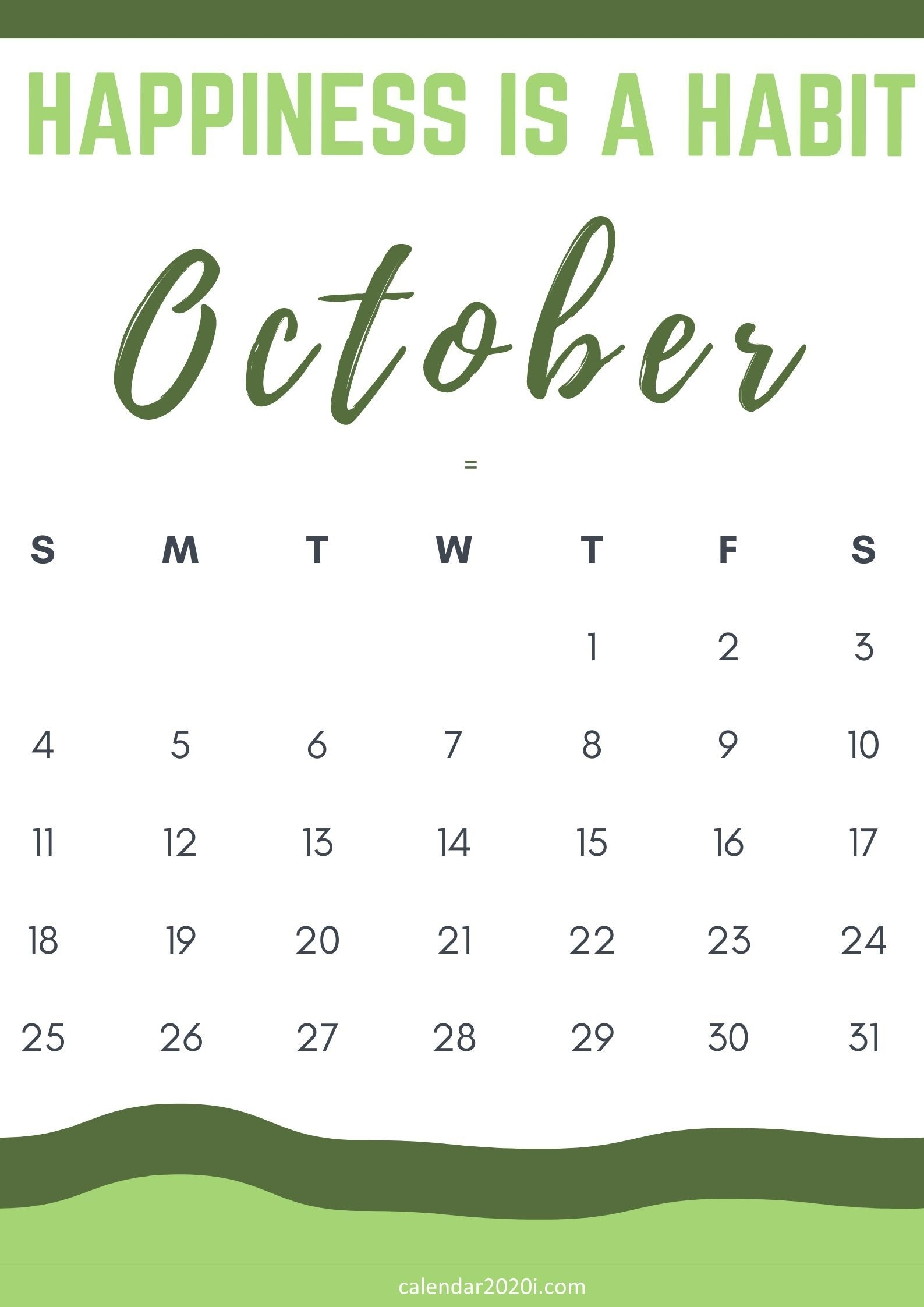 Inspirational October 2020 Calendar With Quotes Free