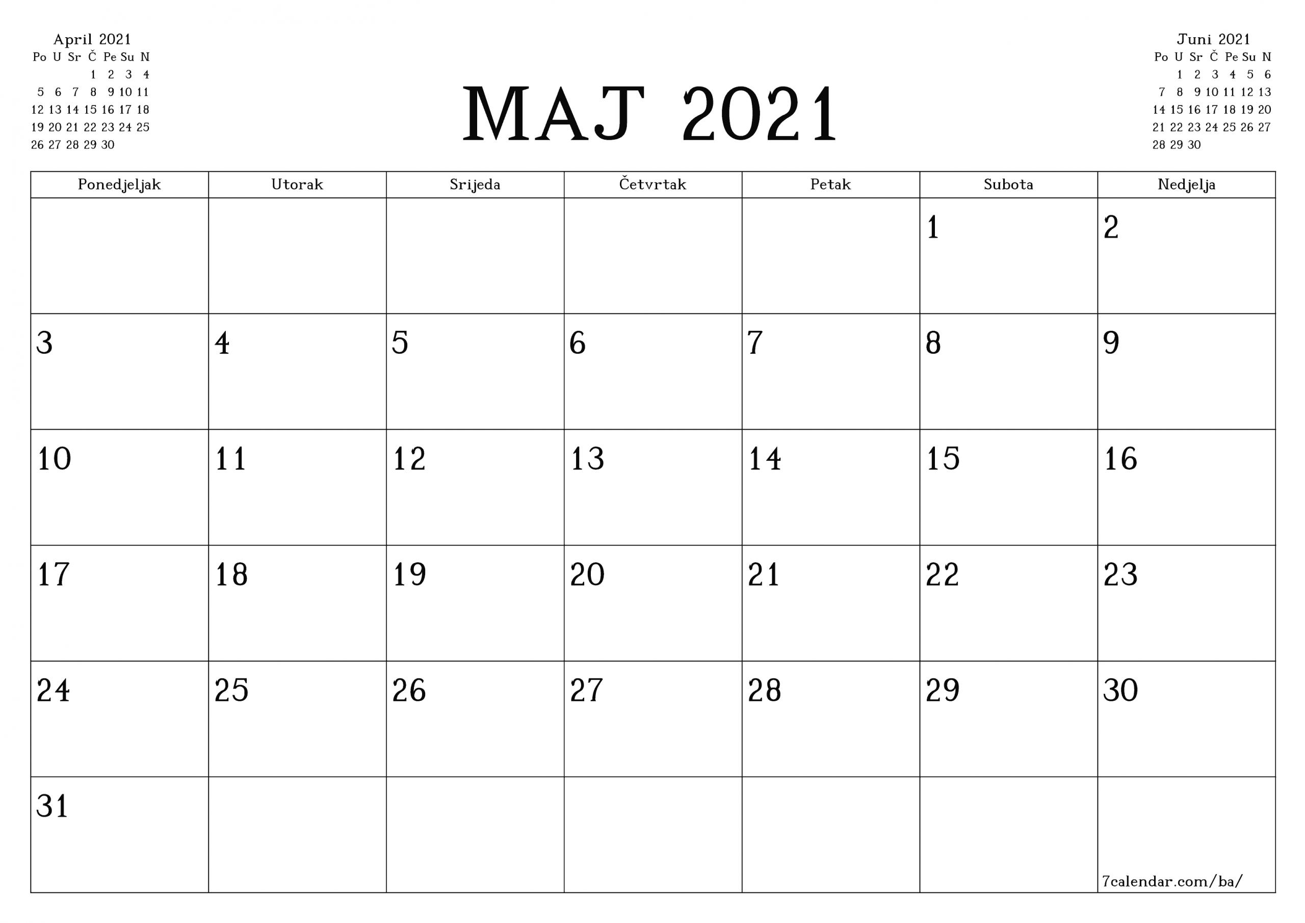 Ispis Kalendara, Jedrilica, Planiranje Unosa Na Maj 2021