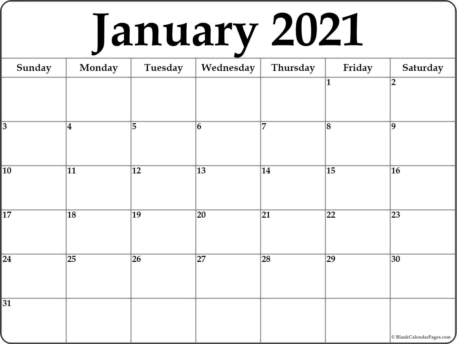Blank Calendar 2021 Printable Monthly