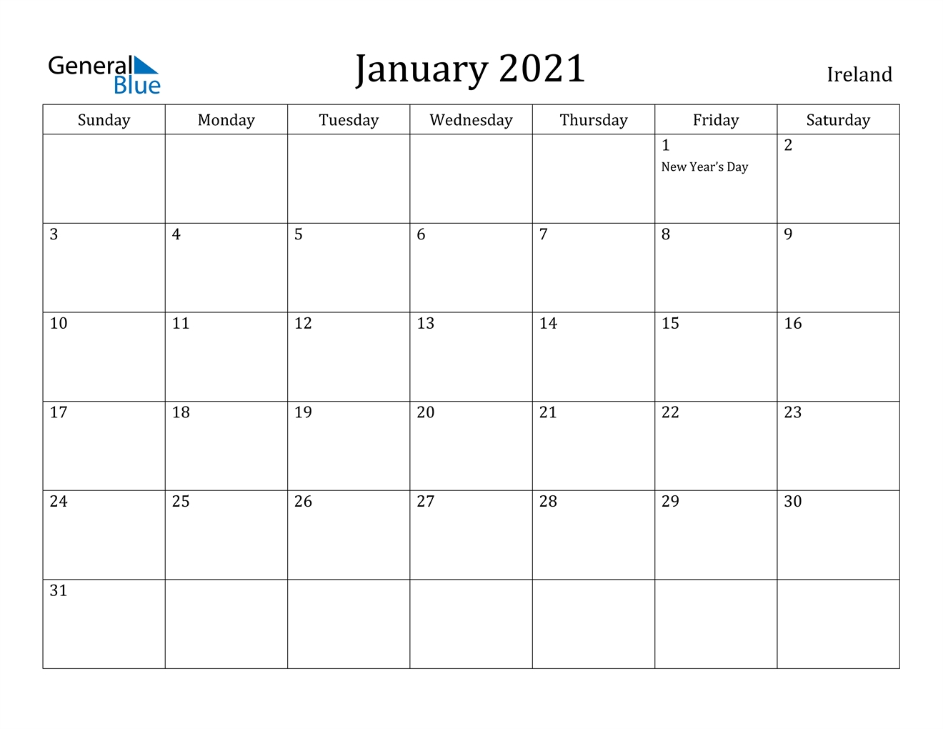 January 2021 Calendar - Ireland