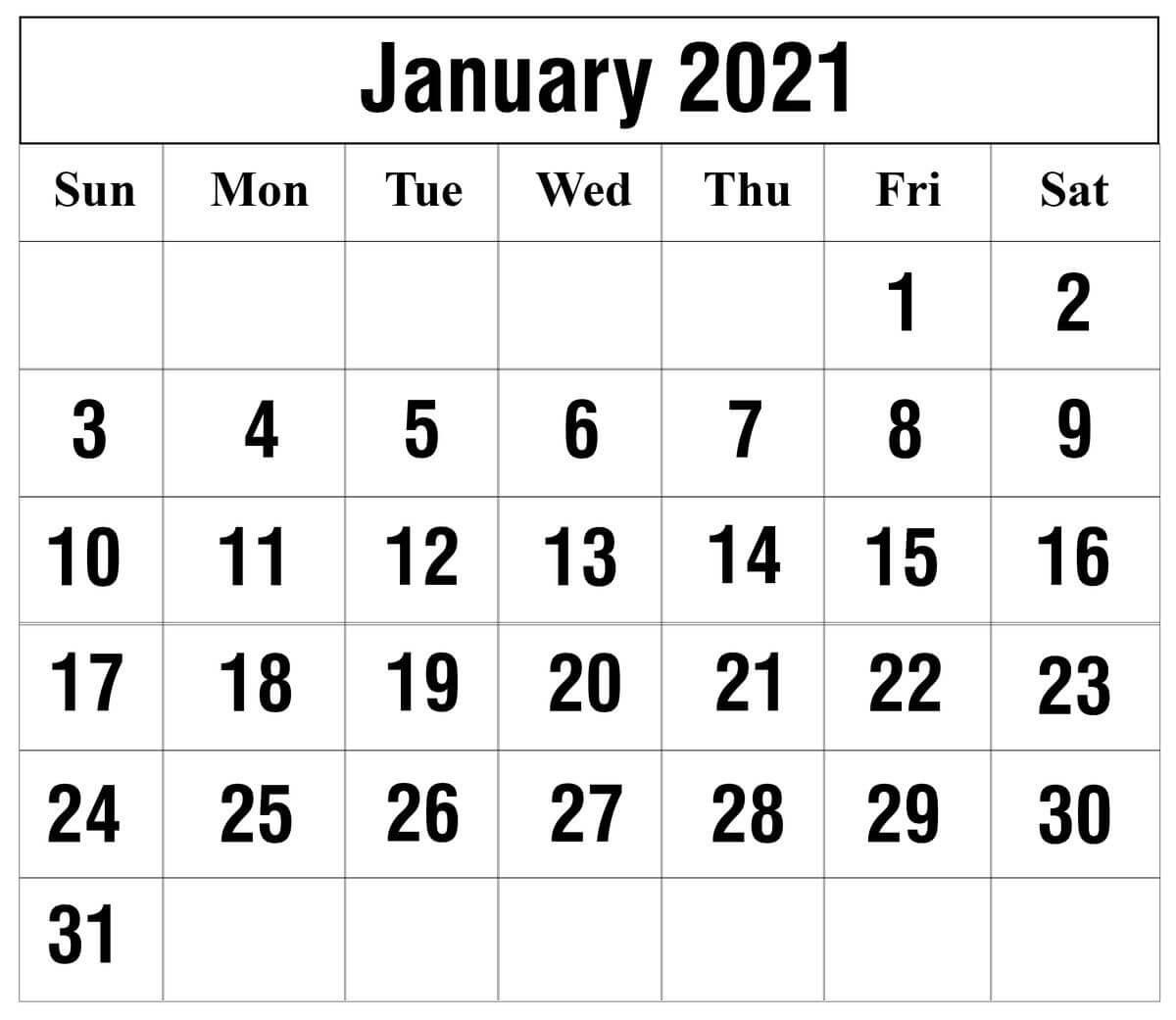 January 2021 Calendar Pdf, Word, Excel Printable Templates